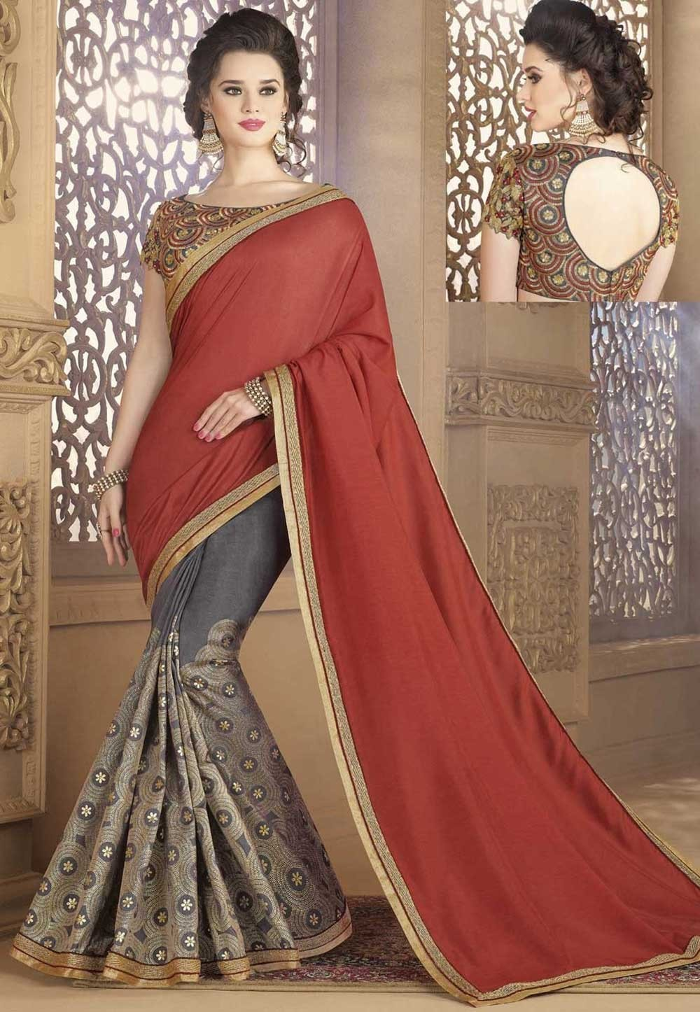 Grey,Brown Color Silk Saree