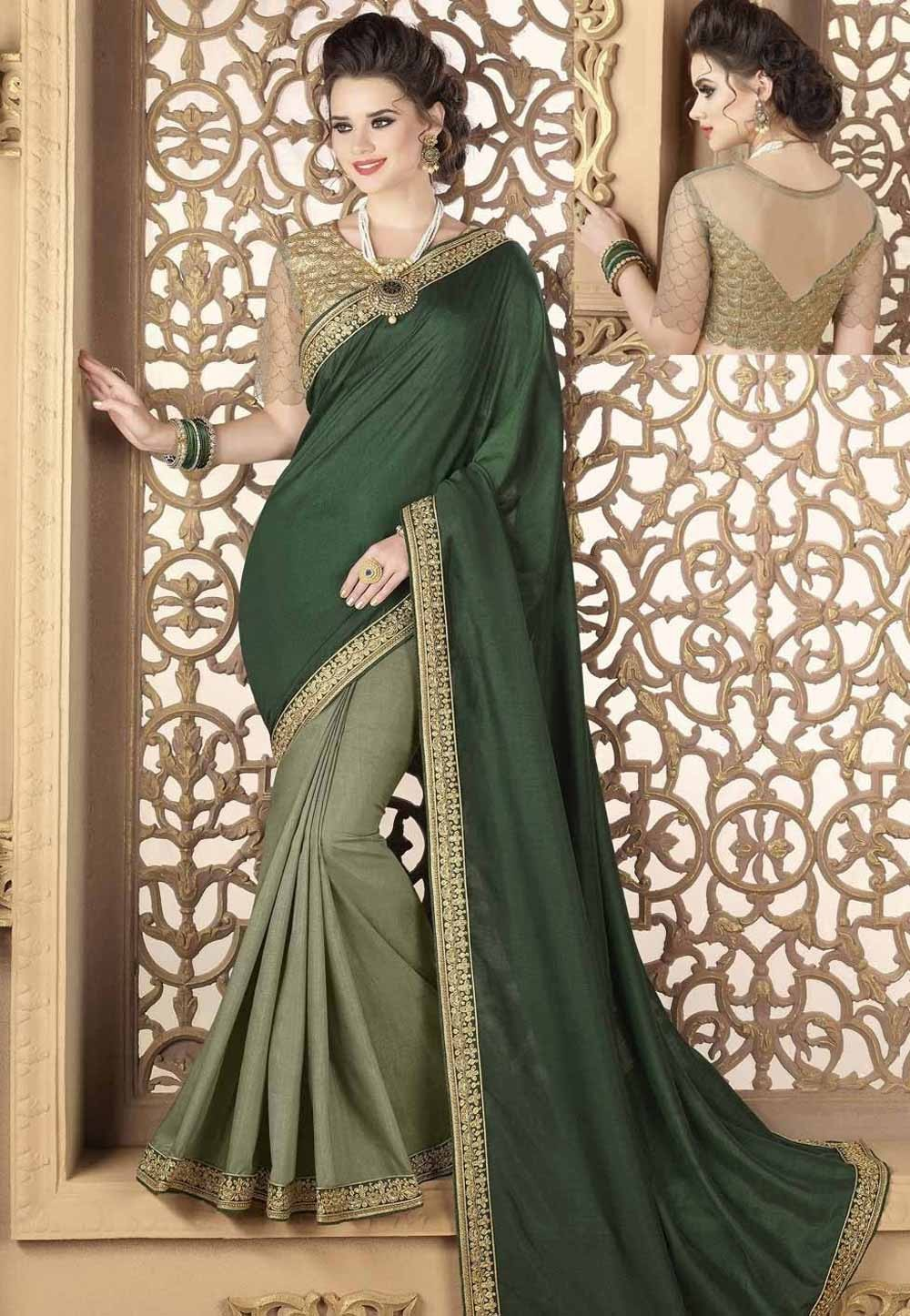 Beautiful Green Color Silk Saree