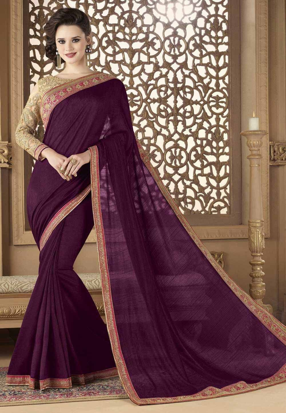 Designer Saree in Magenta Color & Silk Fabric