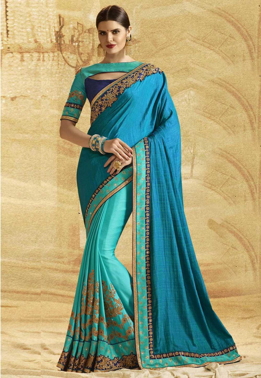 Attractive Looking Blue Color Chiffon Saree