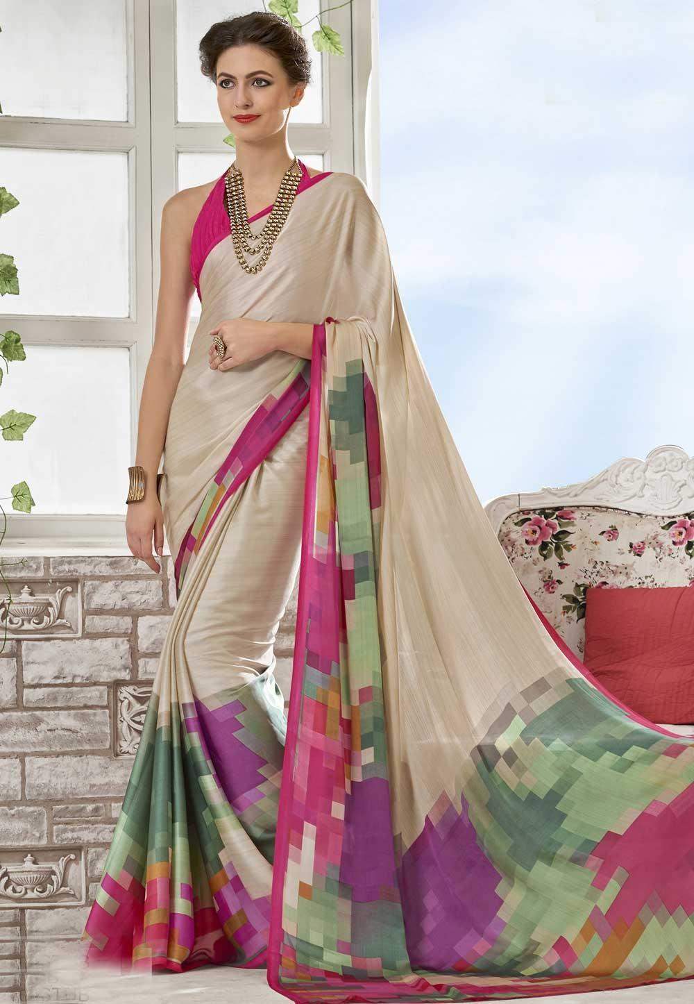 Nice Looking Cream Crepe Silk Printed Sari