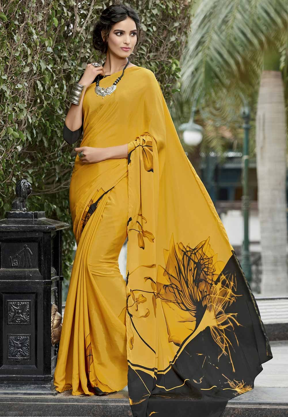 Yellow Crepe Silk Printed Saree