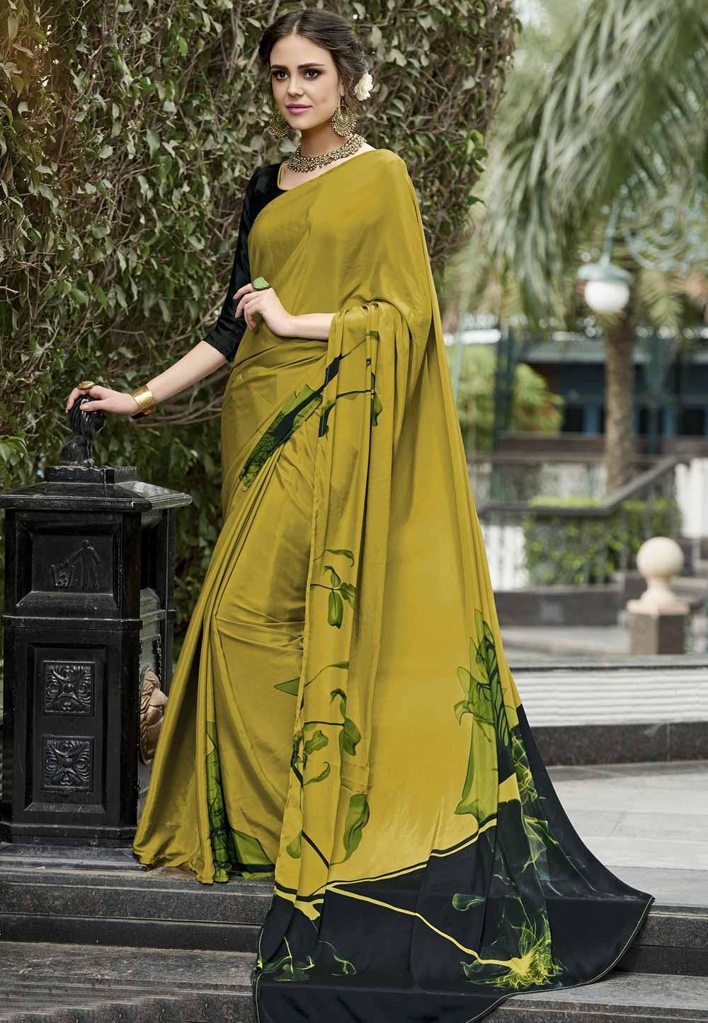 Beautiful Green Crepe Silk Printed Casual Saree