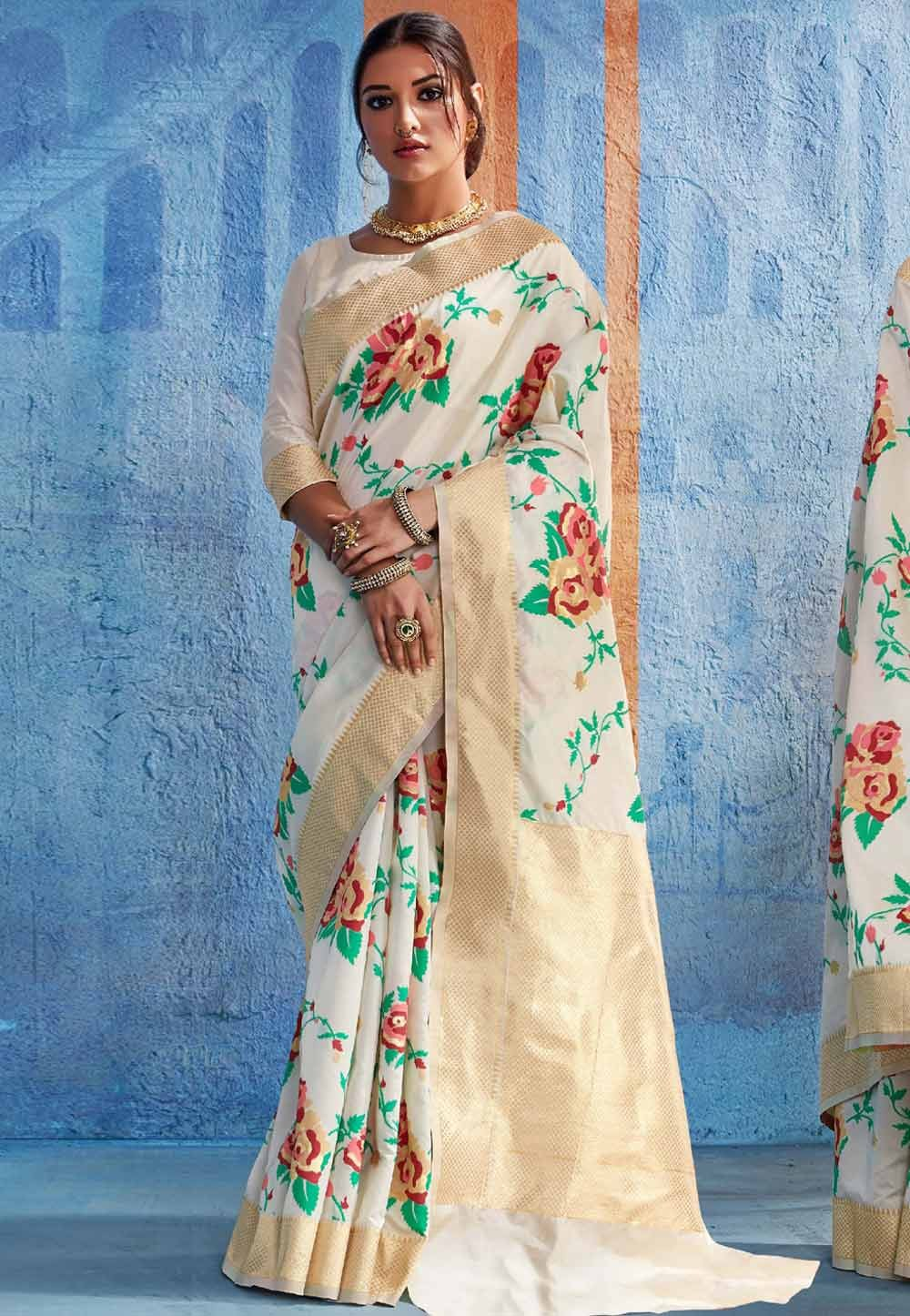 Beautiful Cream Silk Traditional Saree