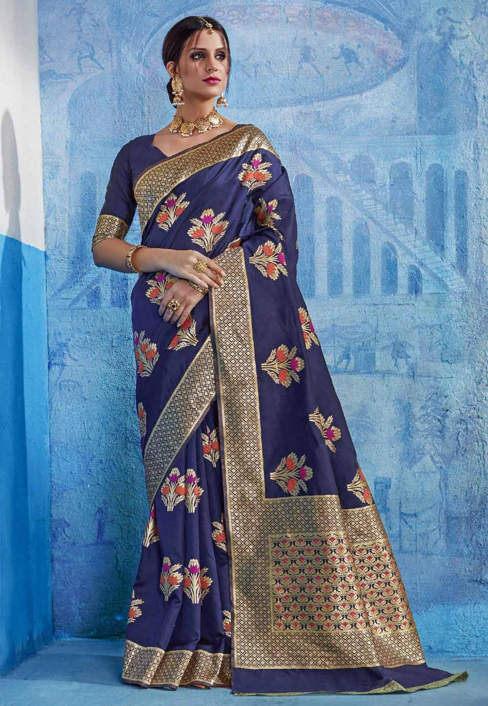 Blue Silk Traditional Party Wear Saree