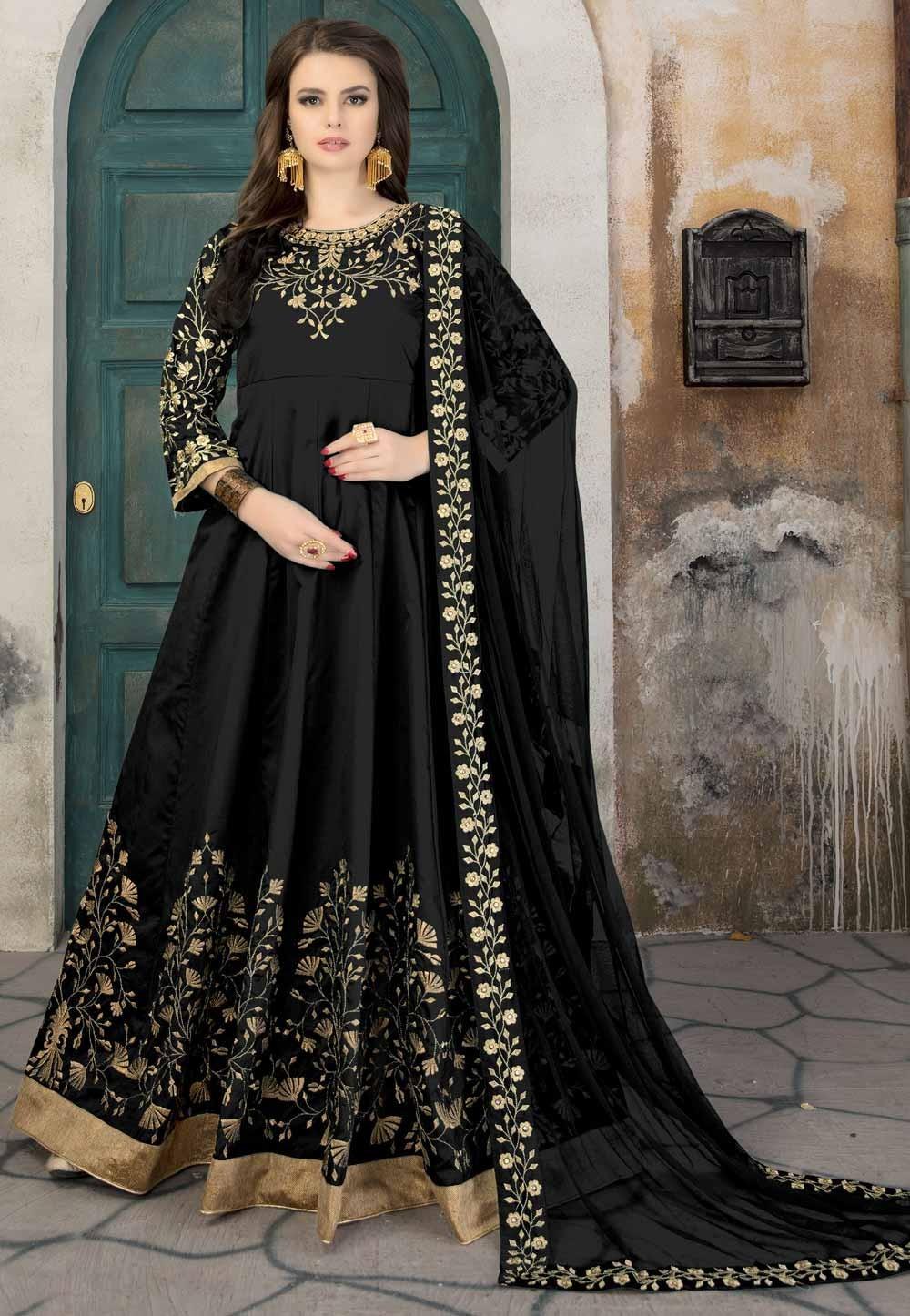 Black Color Silk Fabric Party Wear Salwar Kameez