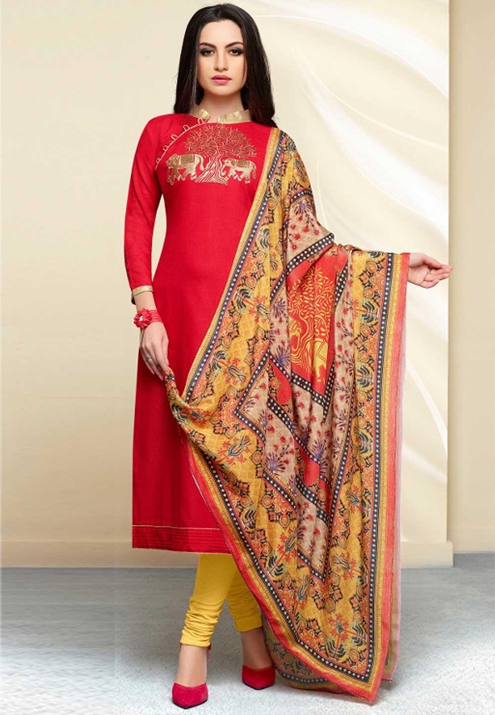 Amazing Red Cotton Salwar Kameez