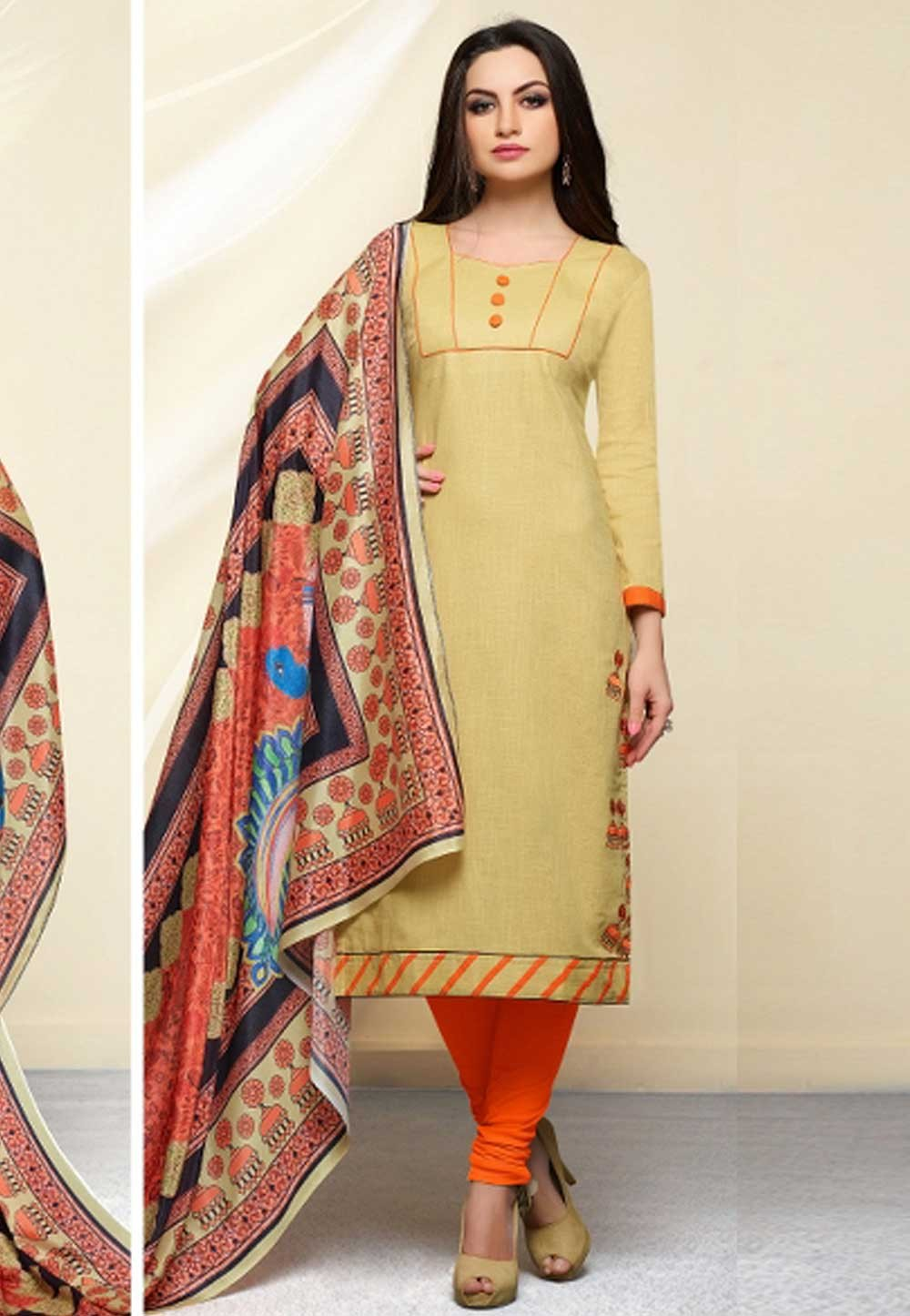 Beige Color Cotton Salwar Kameez