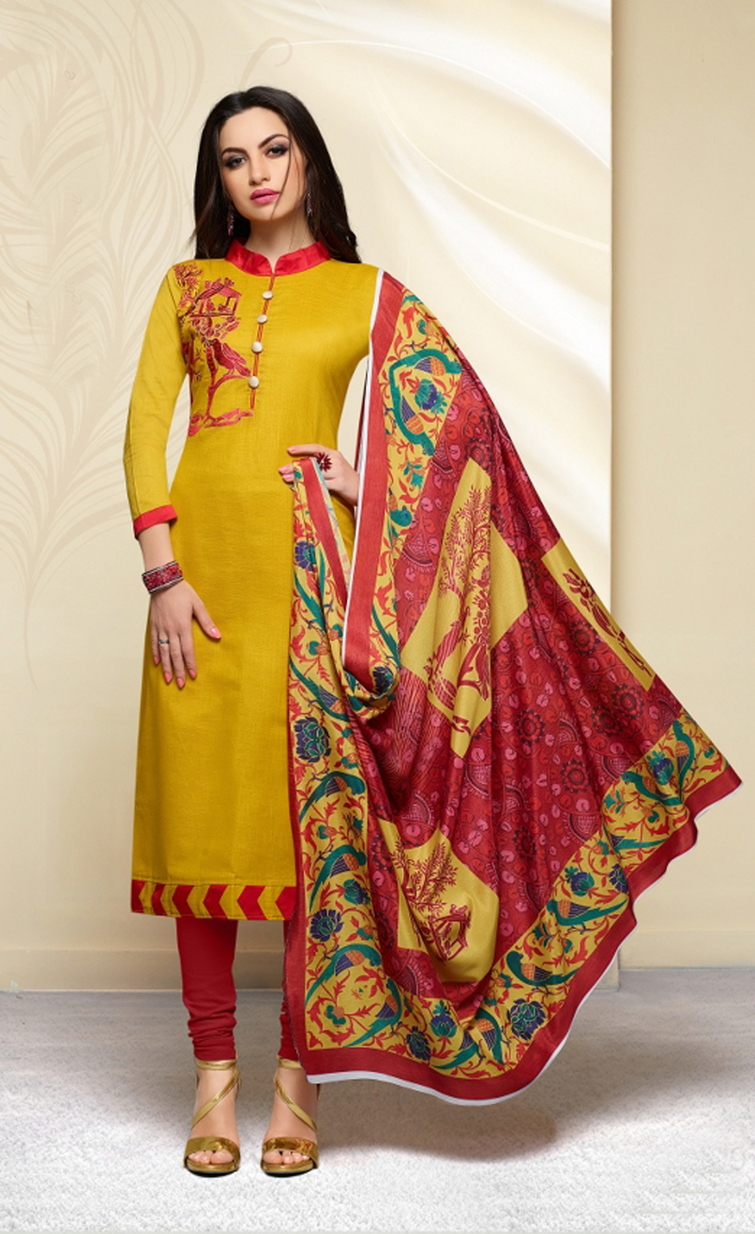Yellow Cotton Salwar Kameez