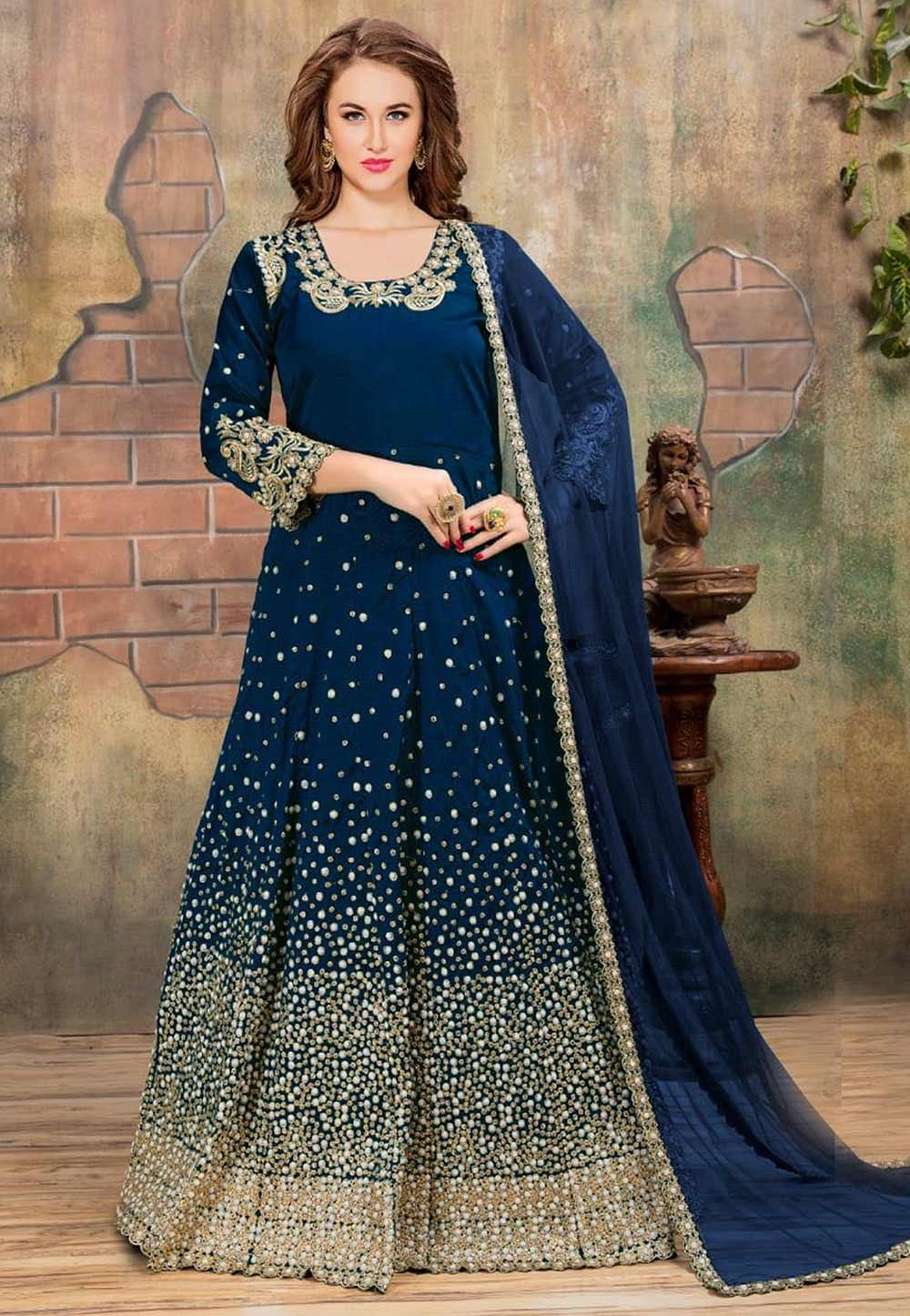 Beautiful Looking Blue Color Silk Designer Slawar Kameez