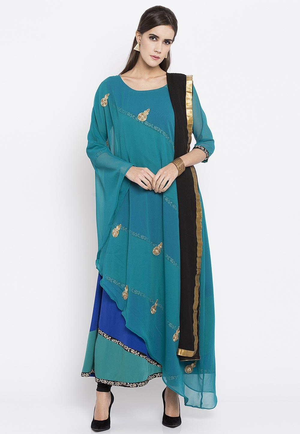 Blue Color Faux Georgette Designer Readymade Salwar Kameez