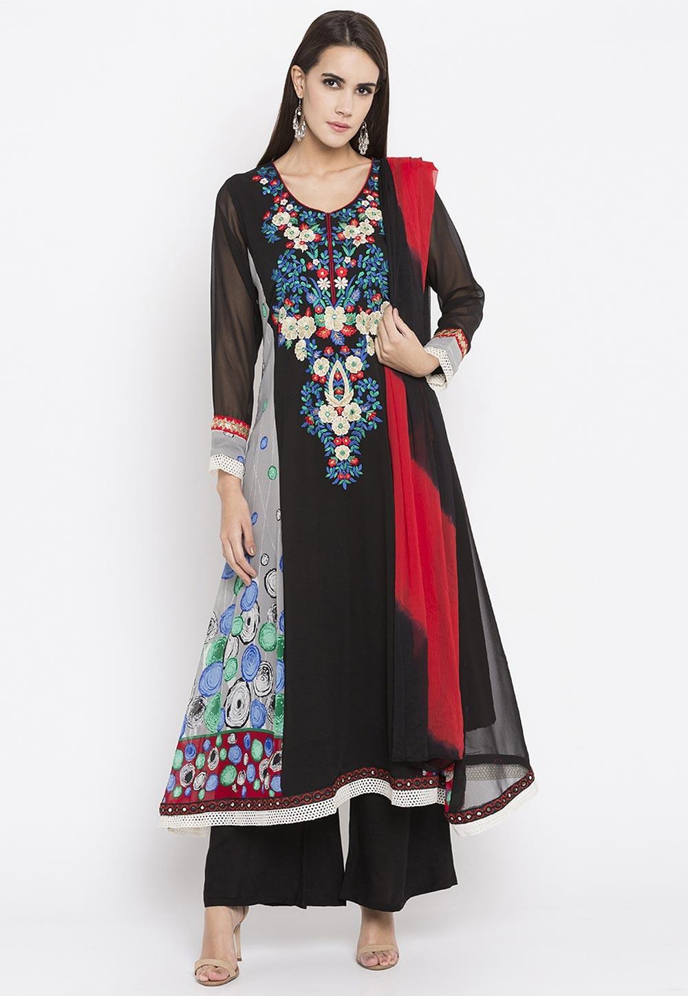 Black Color Faux Georgette Readymade Salwar Kameez