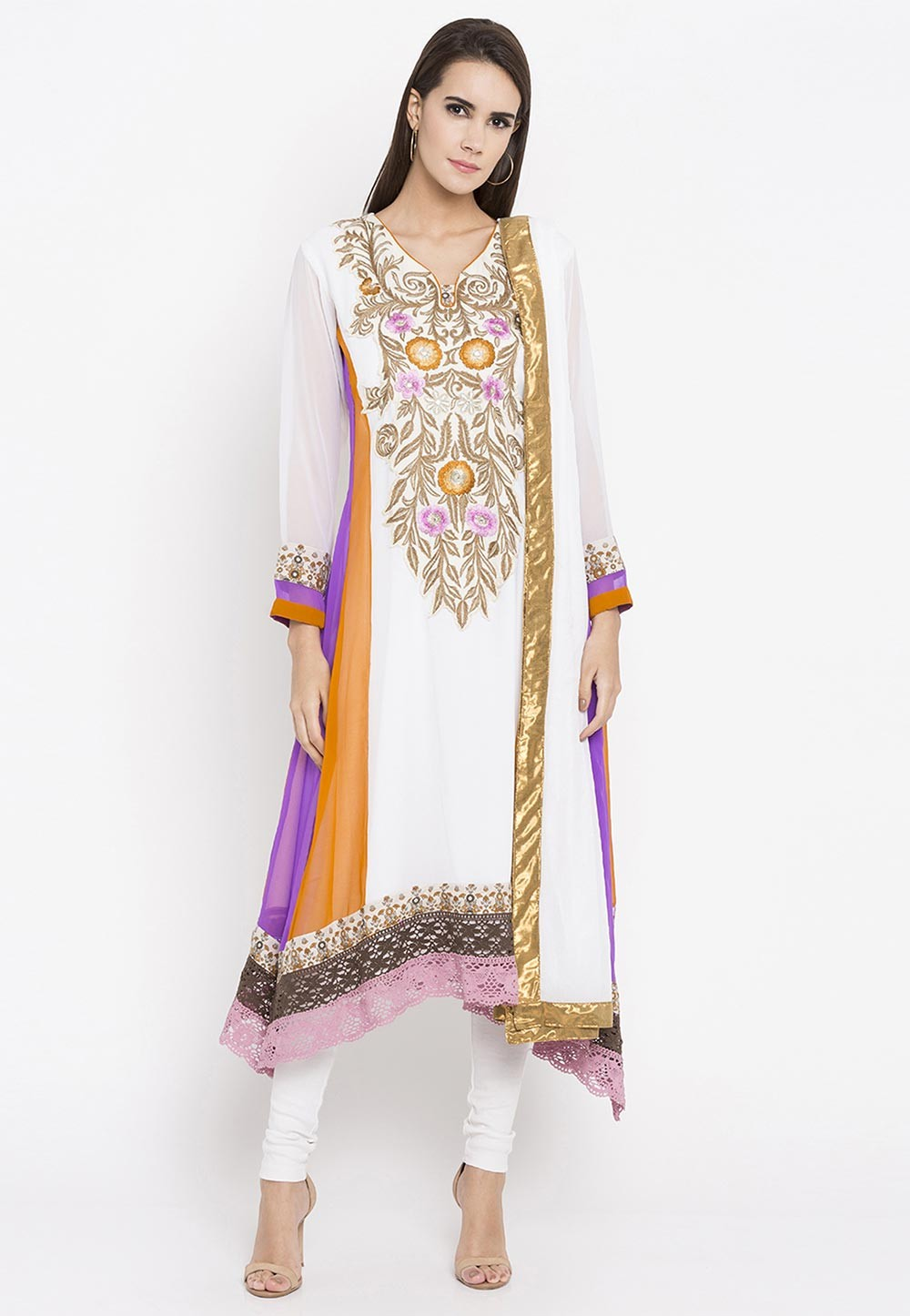 Off White Color Embroidery Work Designer Salwar Kameez