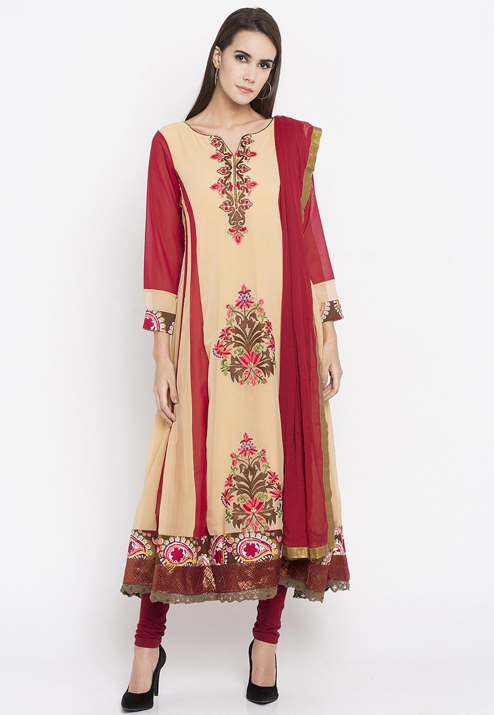 Beige Color Faux Georgette Readymade Salwar Kameez