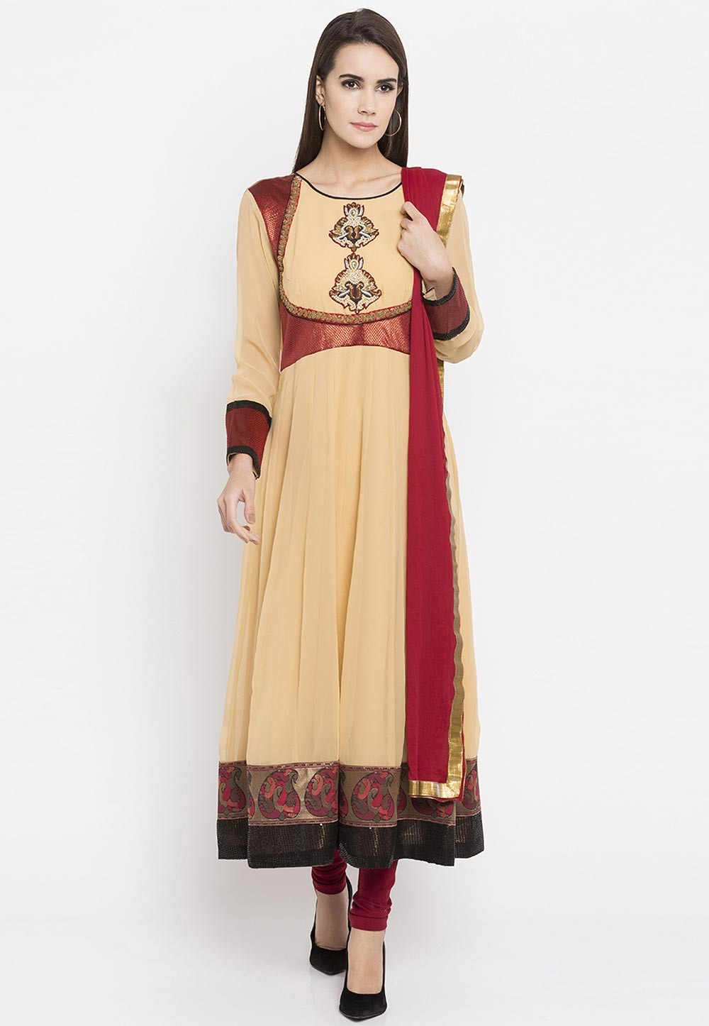 Beige Color Faux Georgette Readymade Salwar Kameez