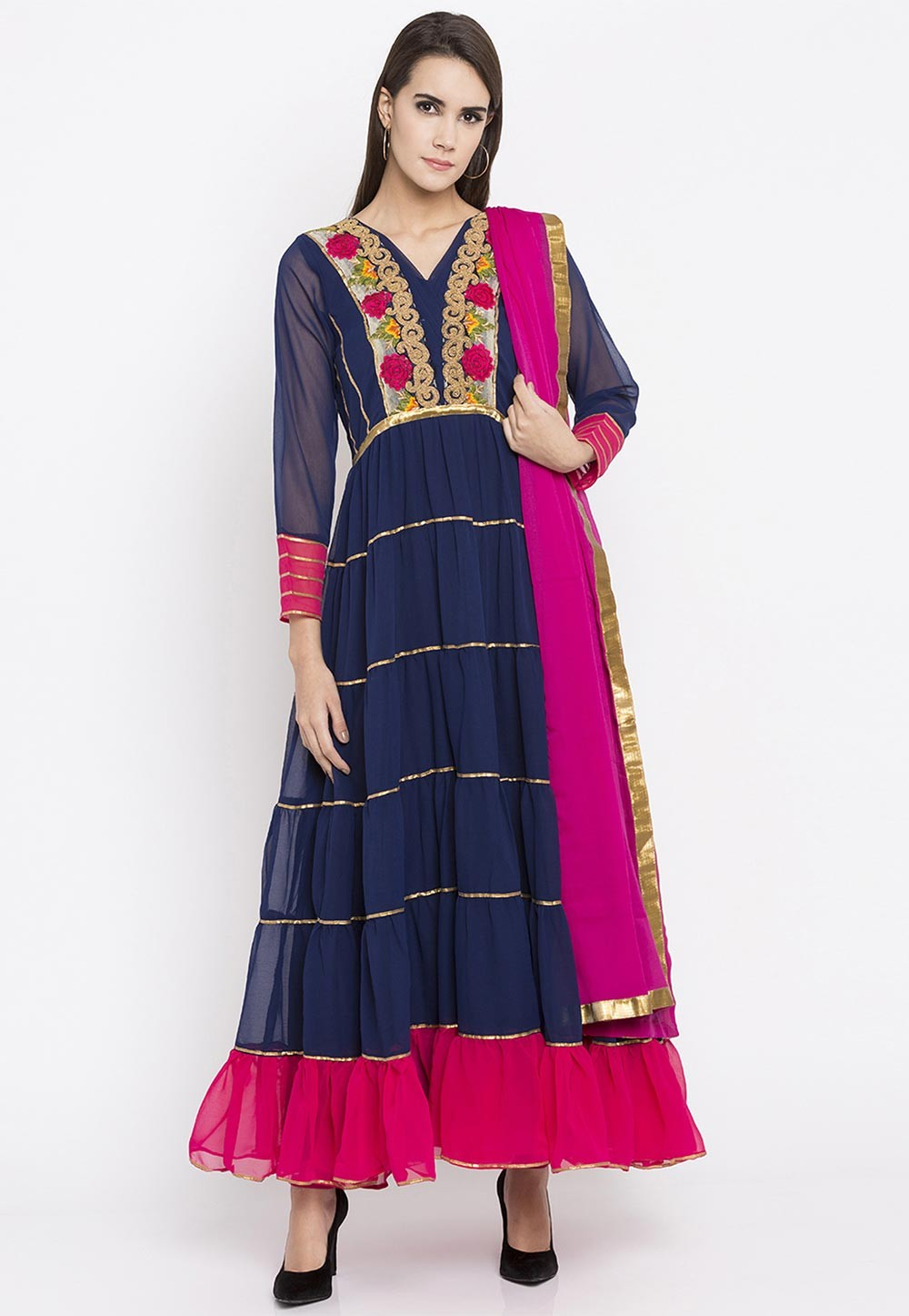 Beautiful Looking Blue Color Embroidery Work Party Wear Salwar Kameez