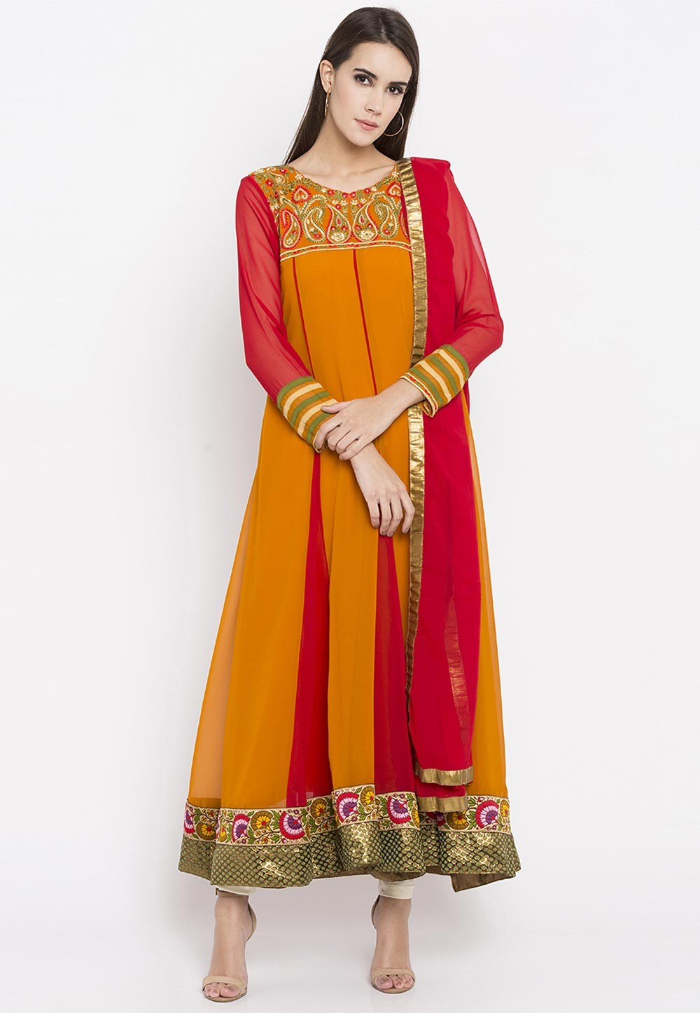 Attractive Looking Orange,Red Color Embroidery Salwar Kameez