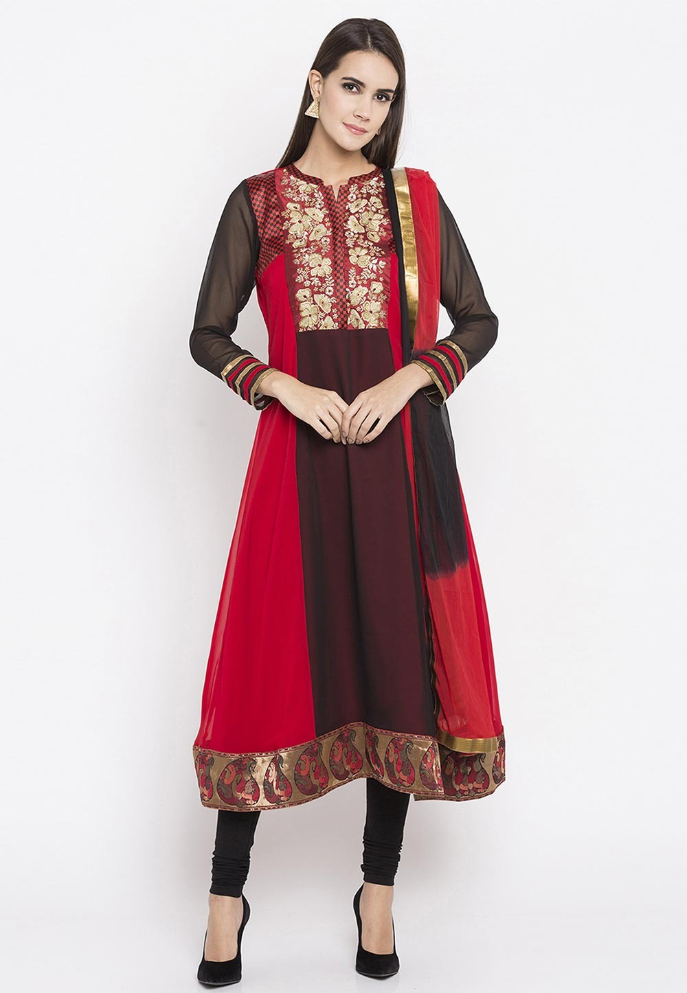 Black,Red Color Faux Georgette Party Wear Salwar Kameez