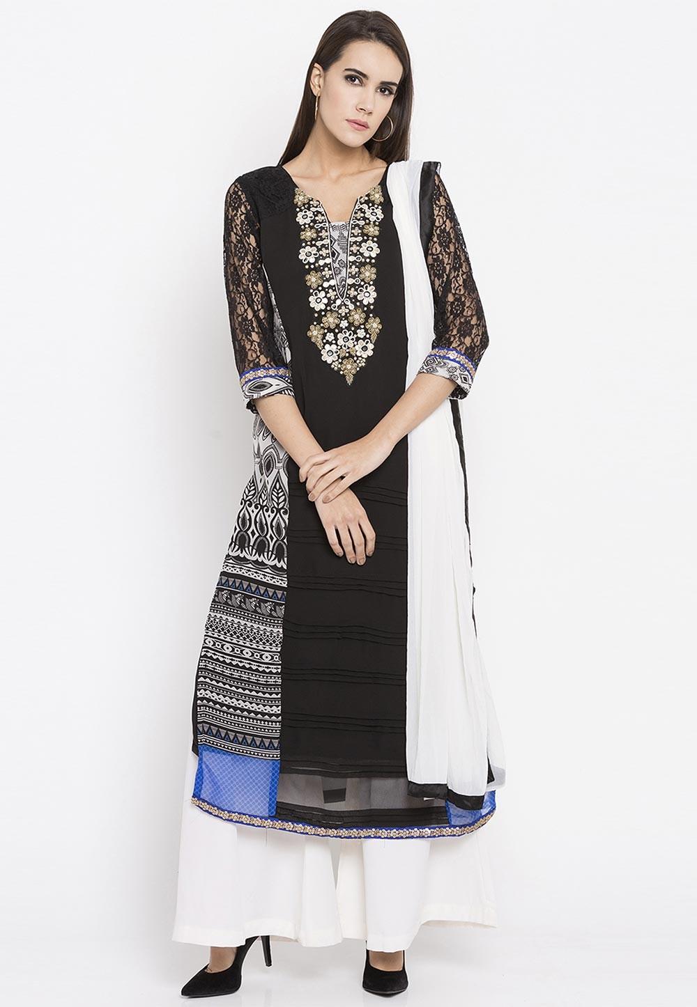 Black Color Embroidery Work Designer Salwar Kameez