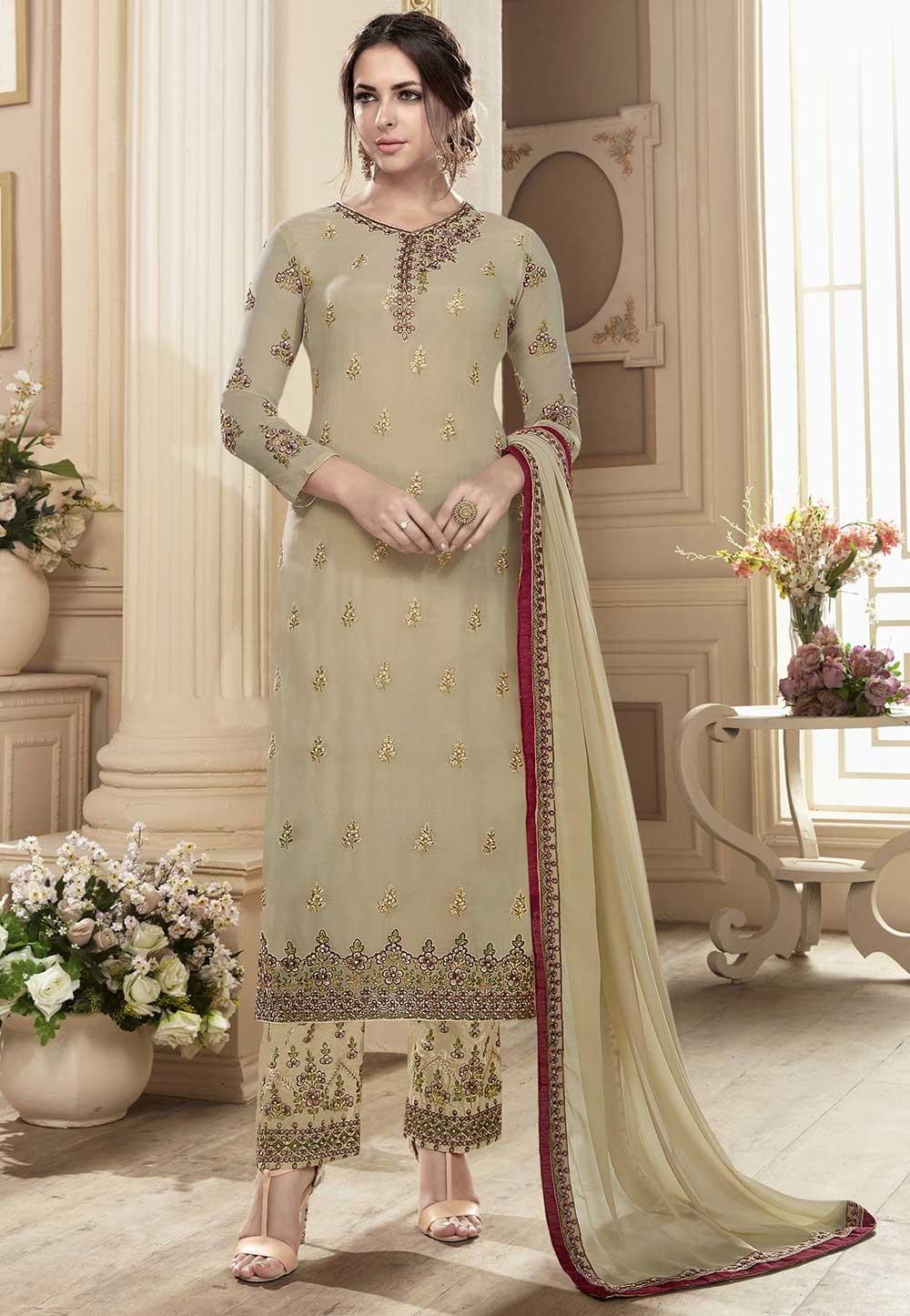Beautiful Looking Beige Color Georgette Designer Salwar Kameez