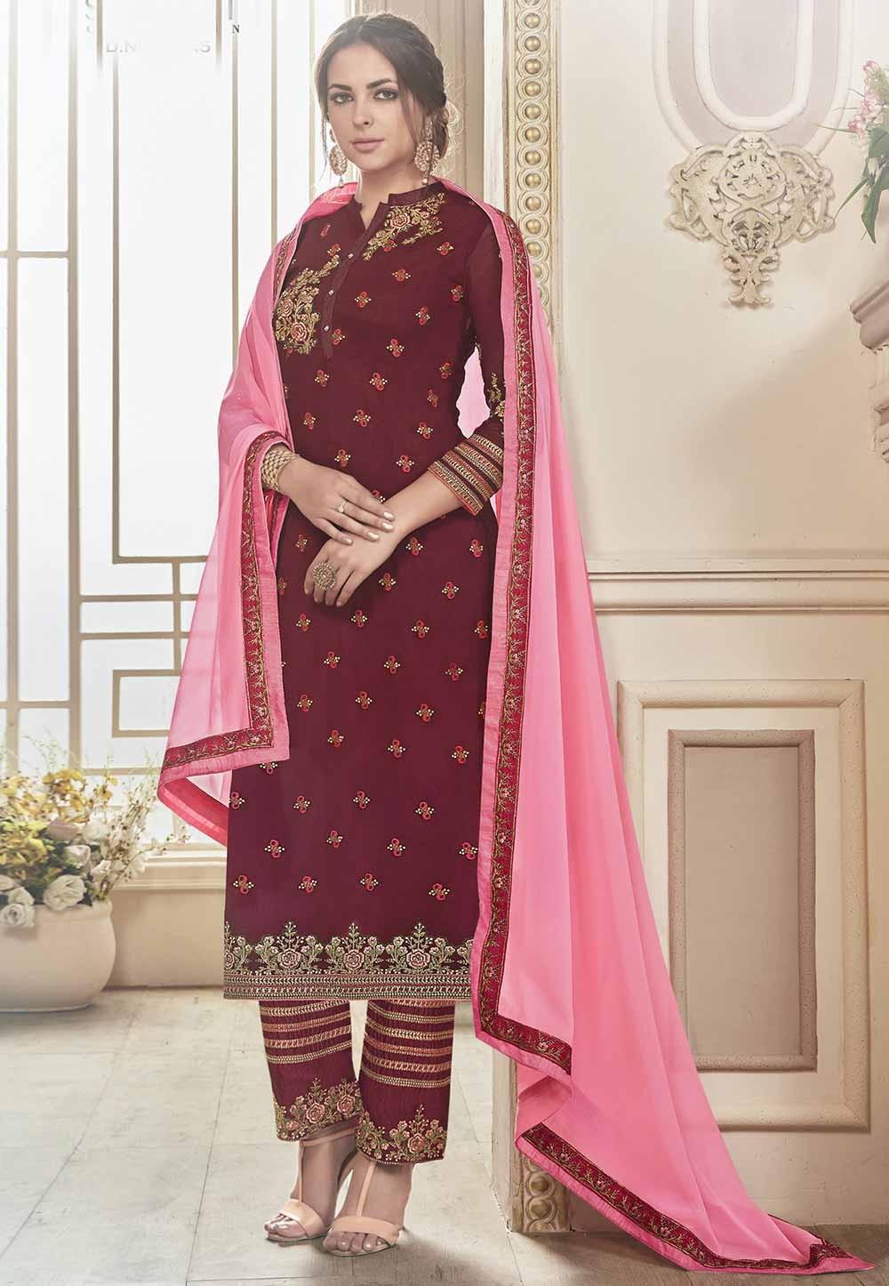 Attractive Looking Maroon Color Georgette Fabric Designer Salwar Kameez in Embroidery Work