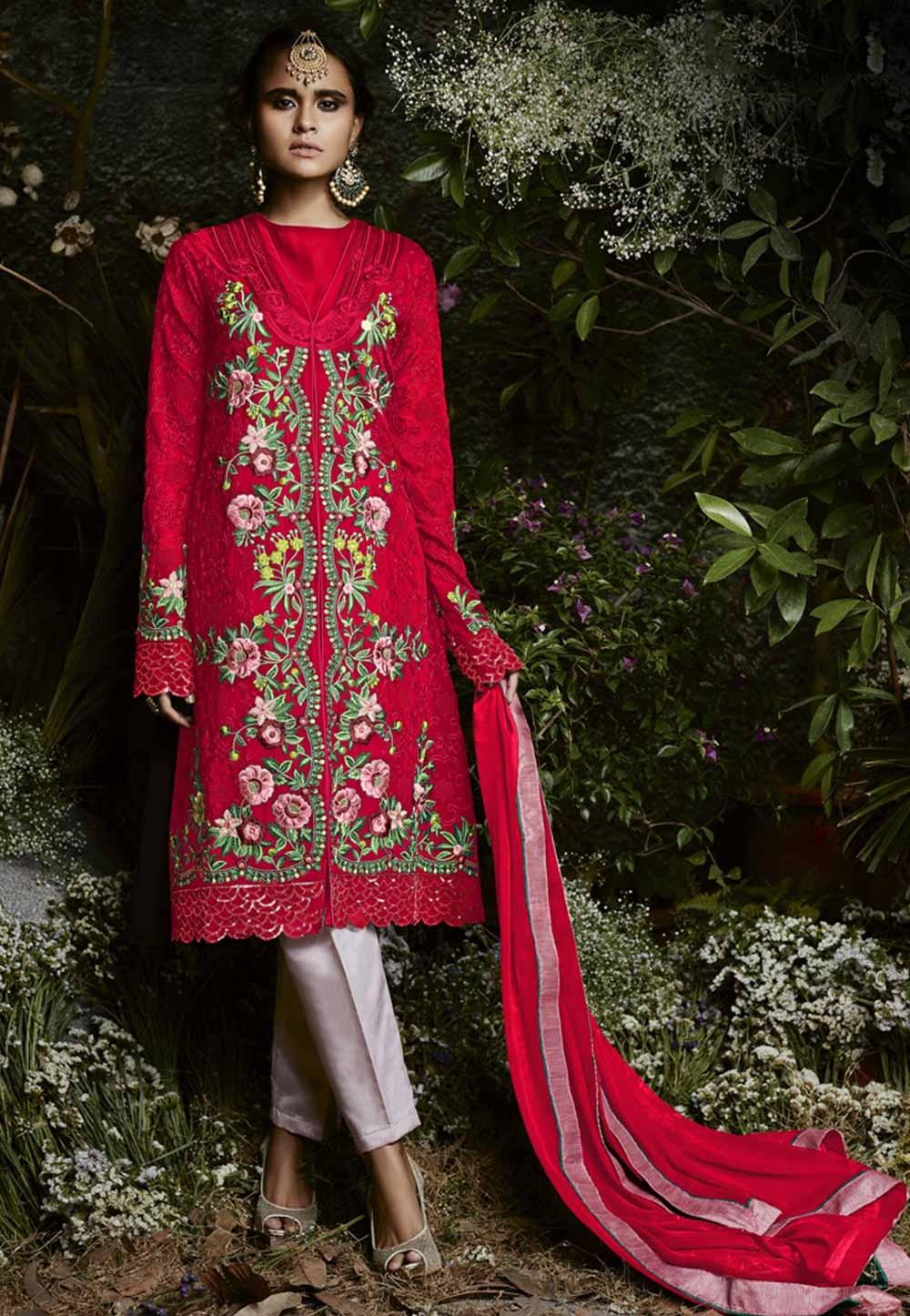 Attractive Looking Red Color Georgette Designer Slawar Kameez