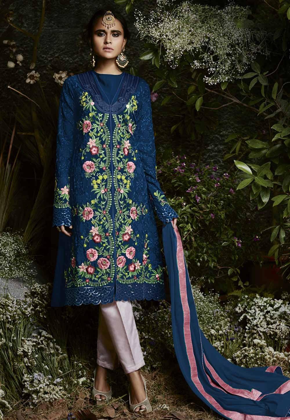 Blue Color Georgette Salwar Kameez in Thread,Embroidery Work
