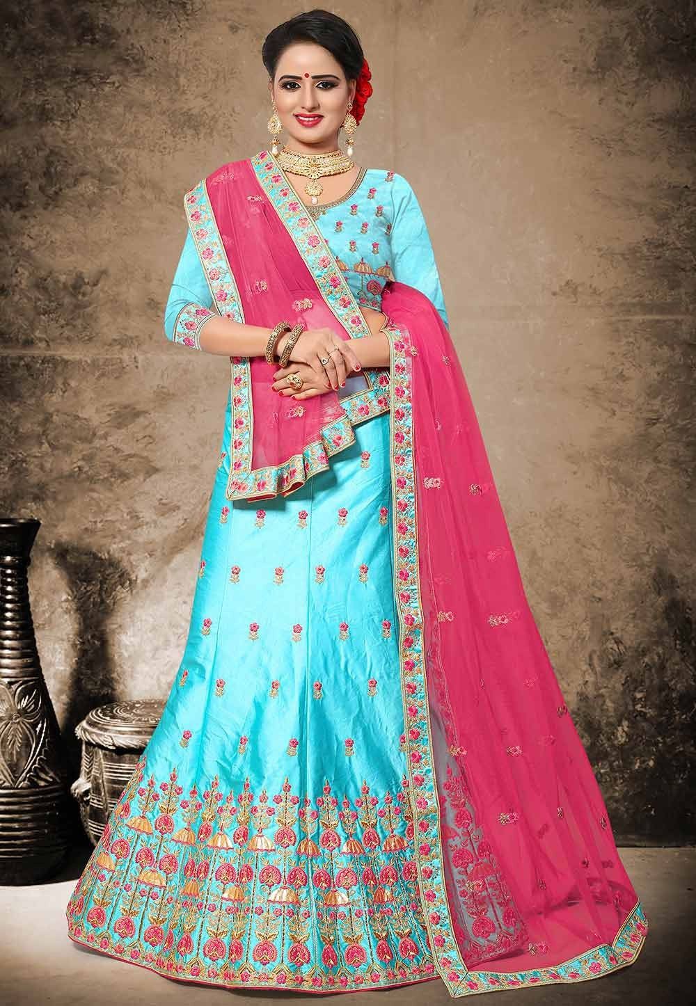 Attractive Turquoise Color Velvet,Satin Designer Lehenga Choli