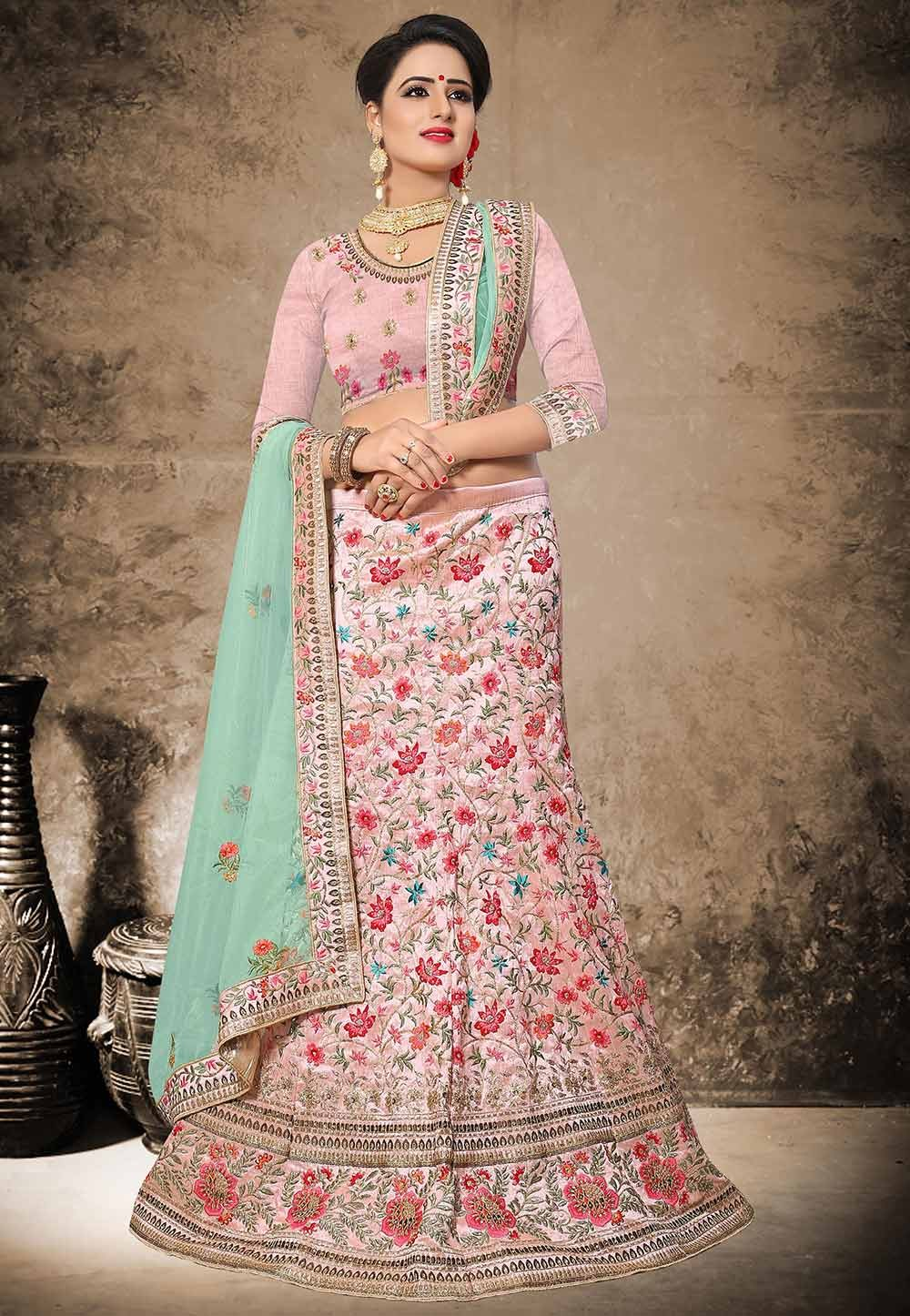 Beautiful Pink Color Silk Fabric Designer Lehenga Choli in Resham,Zari,Stone,Moti Work