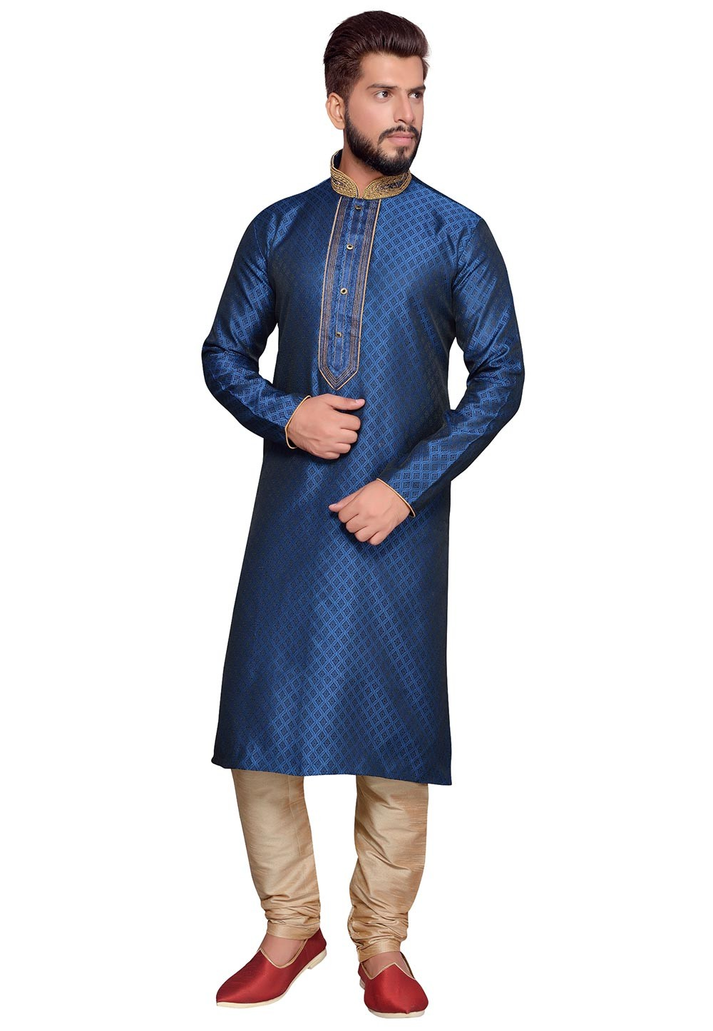 Blue Color Brocade Fabric Designer Kurta Pyjama With Thread Work.