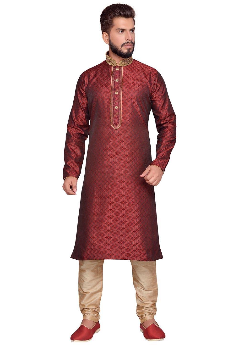 Maroon Color Brocade Fabric Party Wear Kurta Pajama in Thread Work.