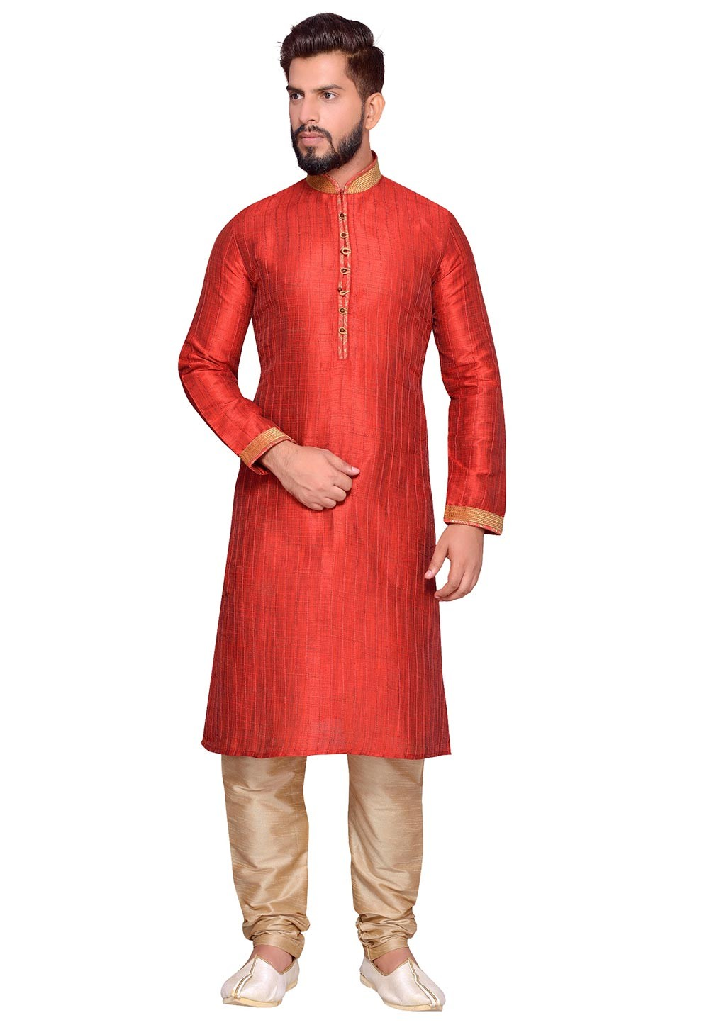 Art Silk Readymade Kurta Pajama in Red Color