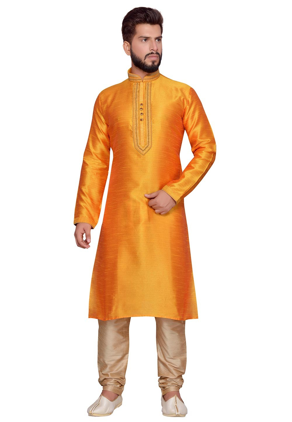 Traditional Look Yellow Color Art Silk Designer Kurta Pajama With Thread Work.