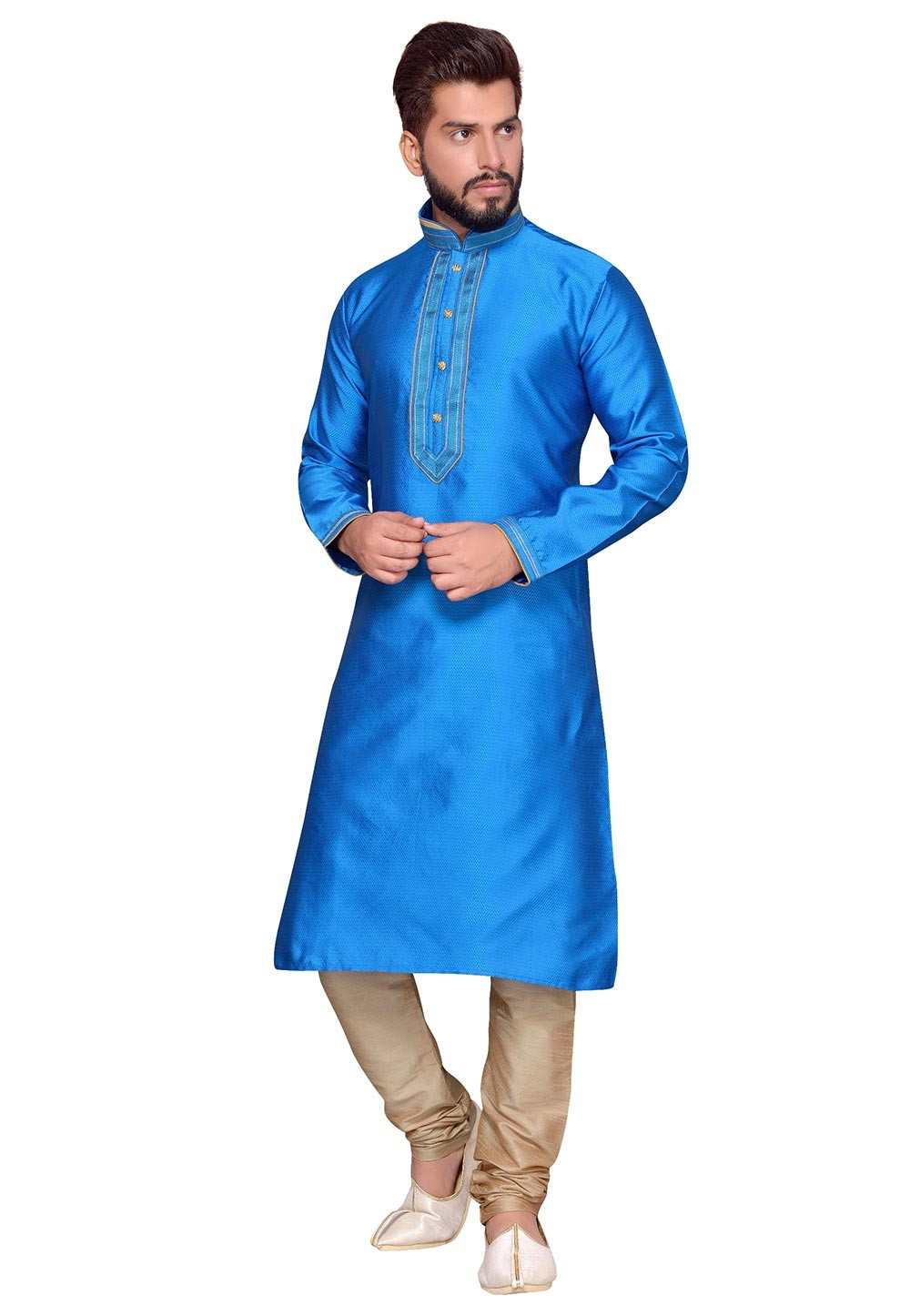 Blue Color Dupion Silk Fabric Party Wear Kurta Pajama.