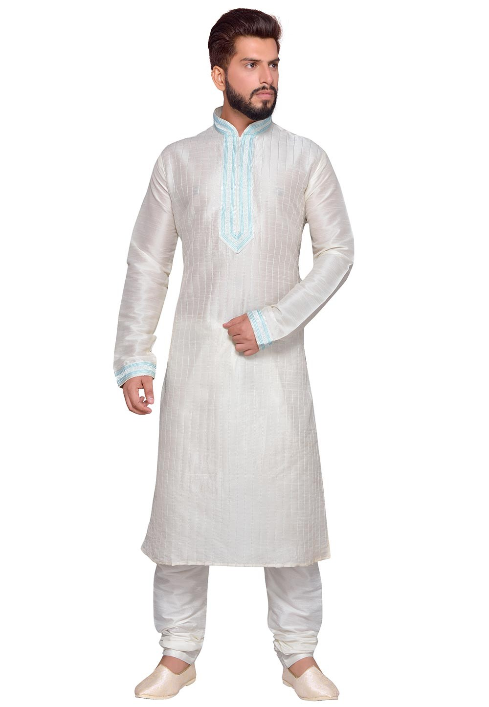 Art Silk Readymade Kurta Pyjama in White Color