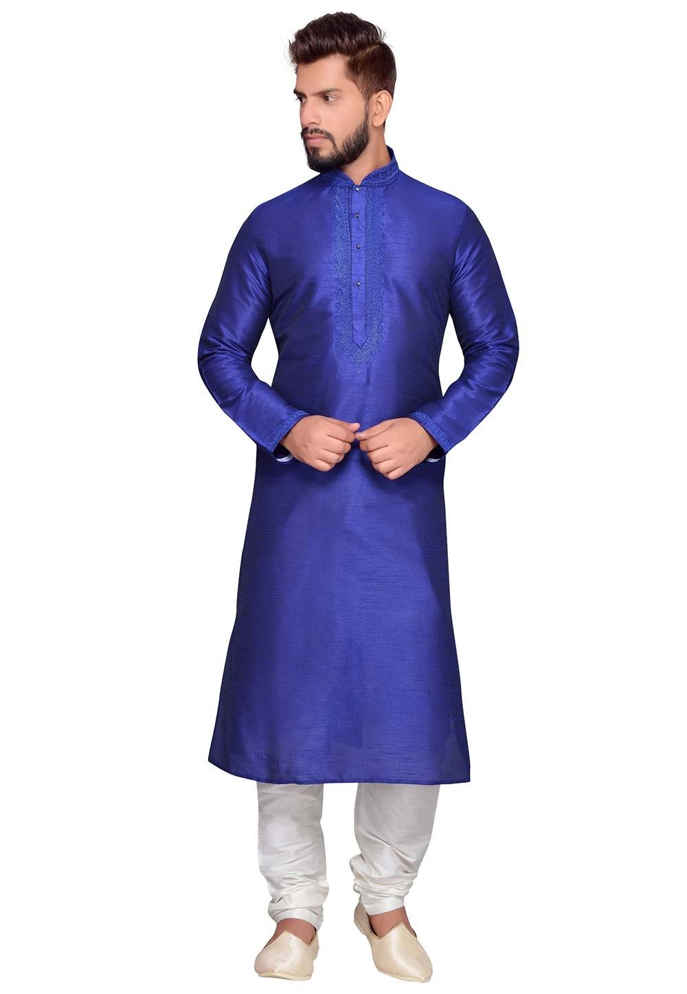 Blue Color Art Silk Fabric Party Wear Kurta Pajama.