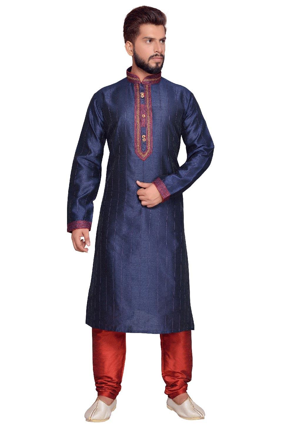 Blue Color Art Silk Party Wear Kurta Pajama With Thread Work.