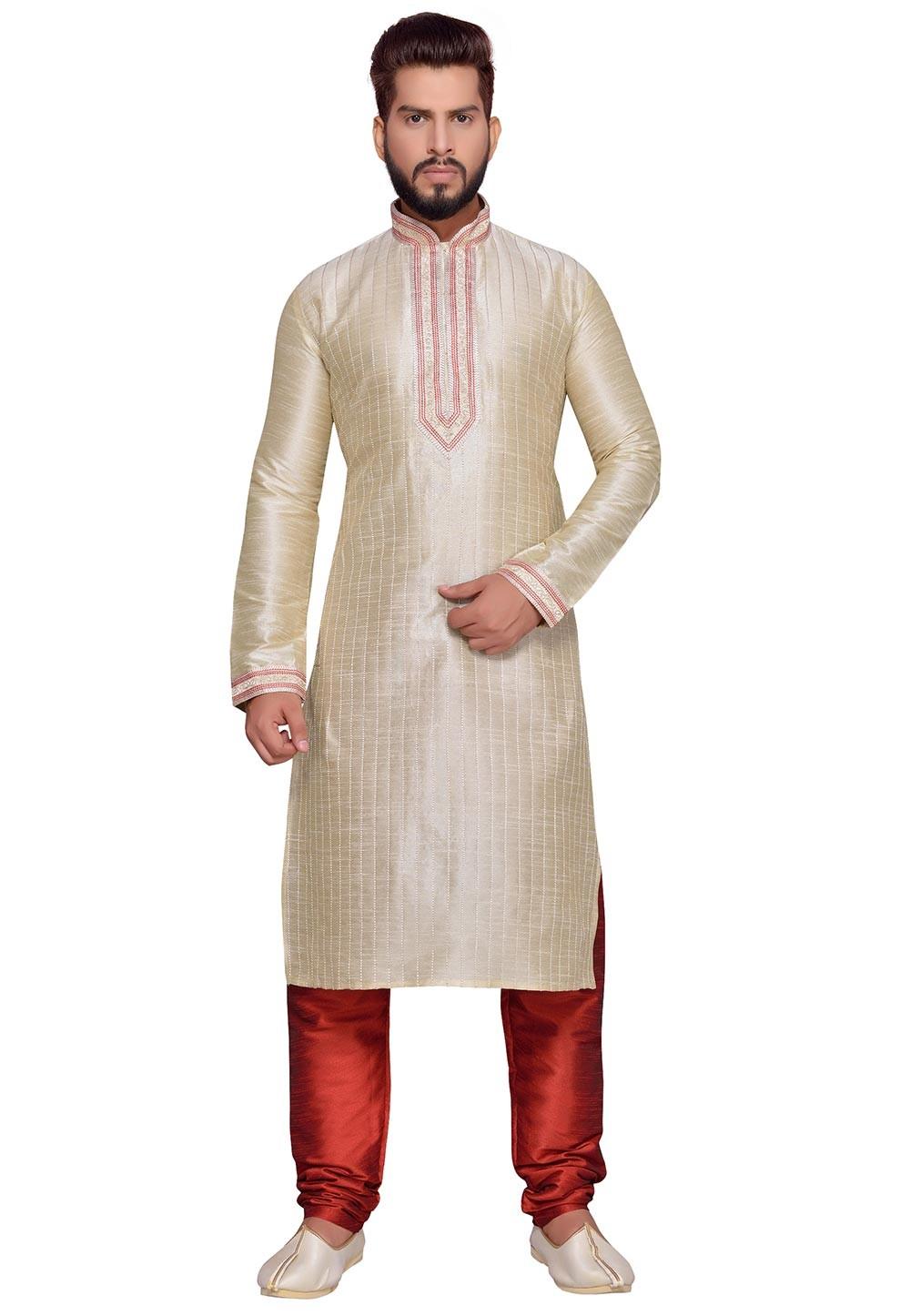 Golden Color Art Silk Readymade Kurta Pajama.