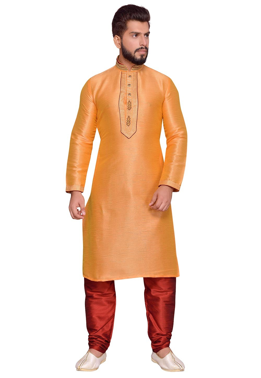Traditional Look Orange Color Art Silk Readymade Kurta Pajama In Thread Work.