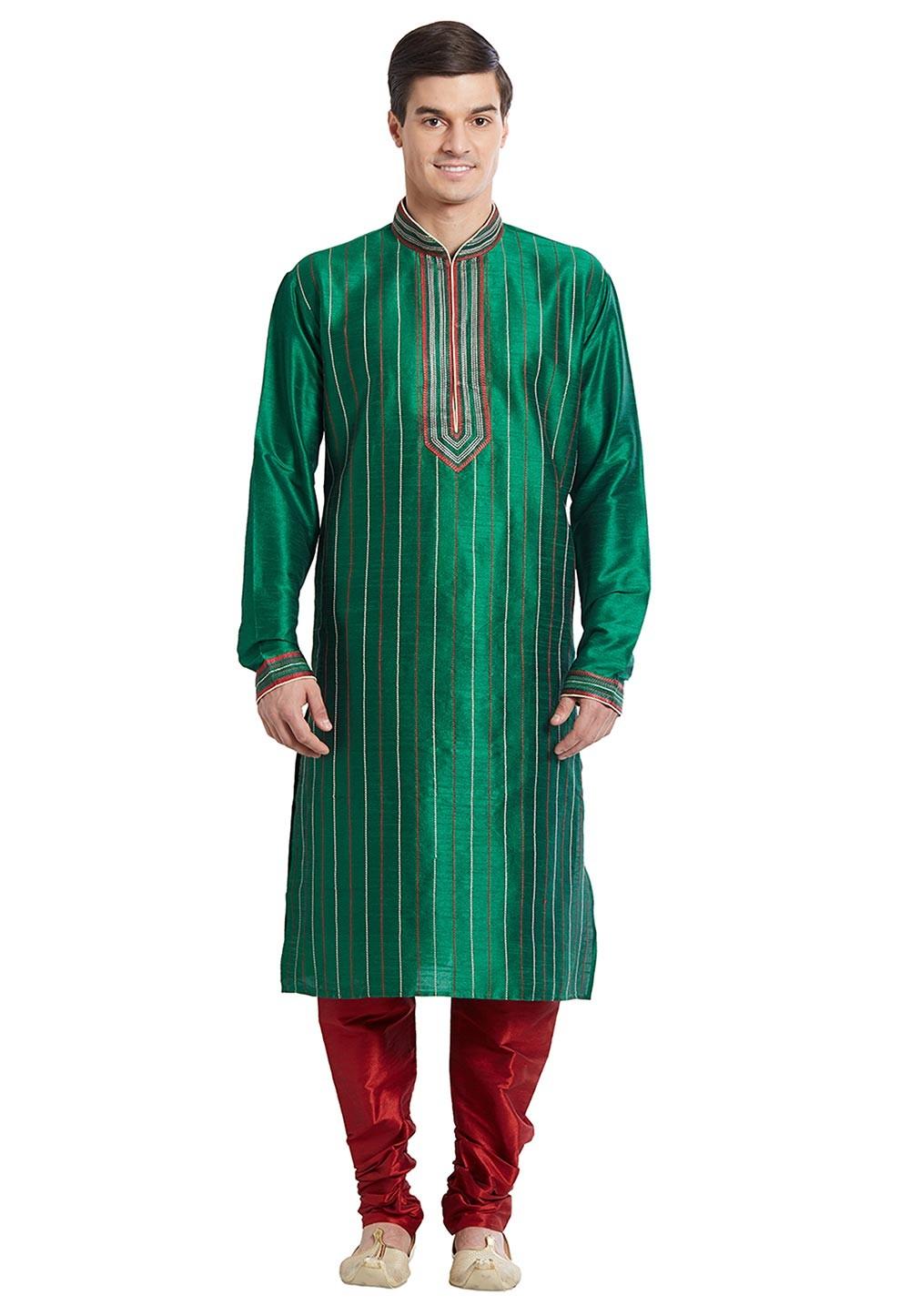 Green Color Silk Readymade Kurta Pajama With Thread Work.