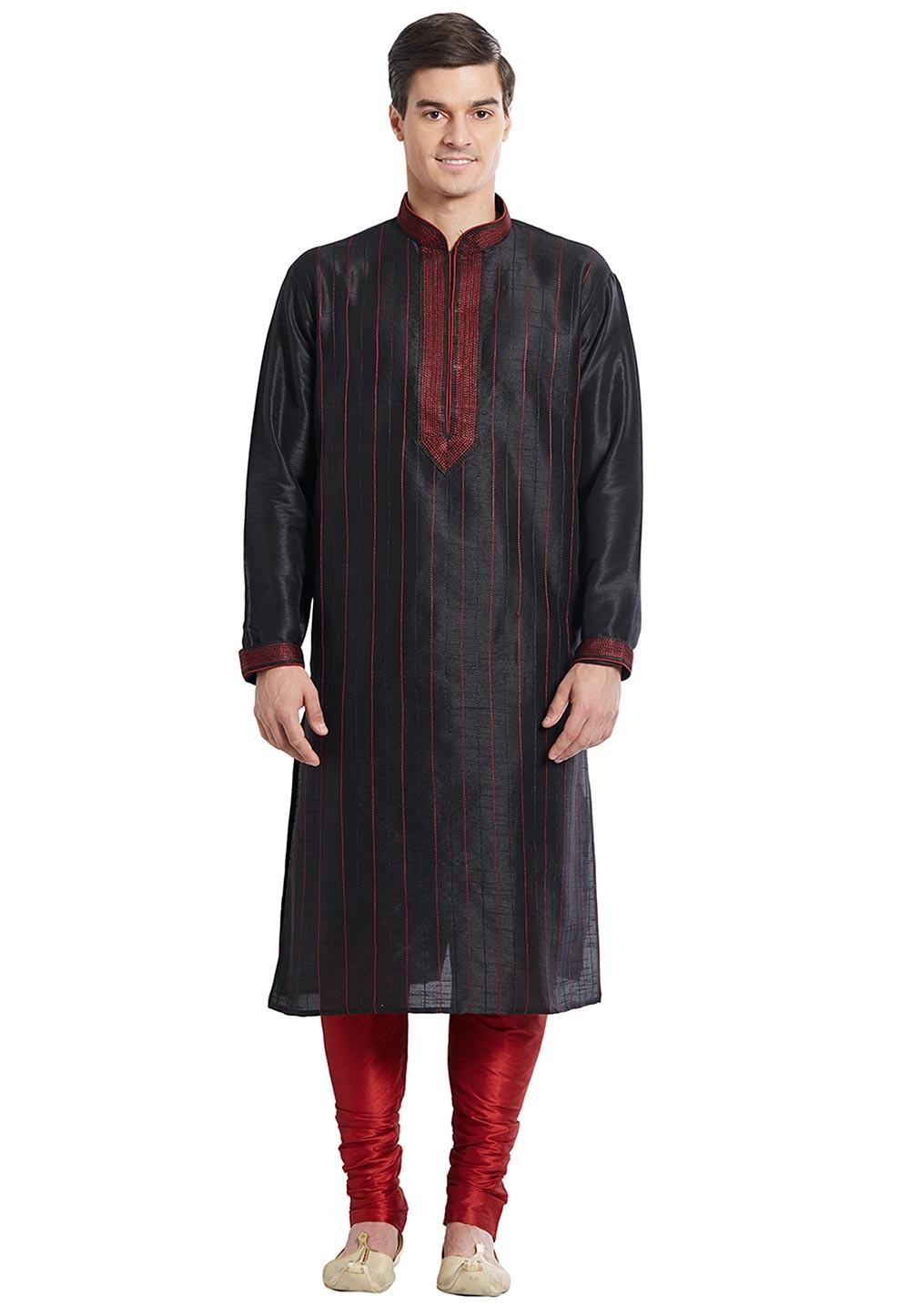 Black Color Silk Readymade Kurta Pajama.