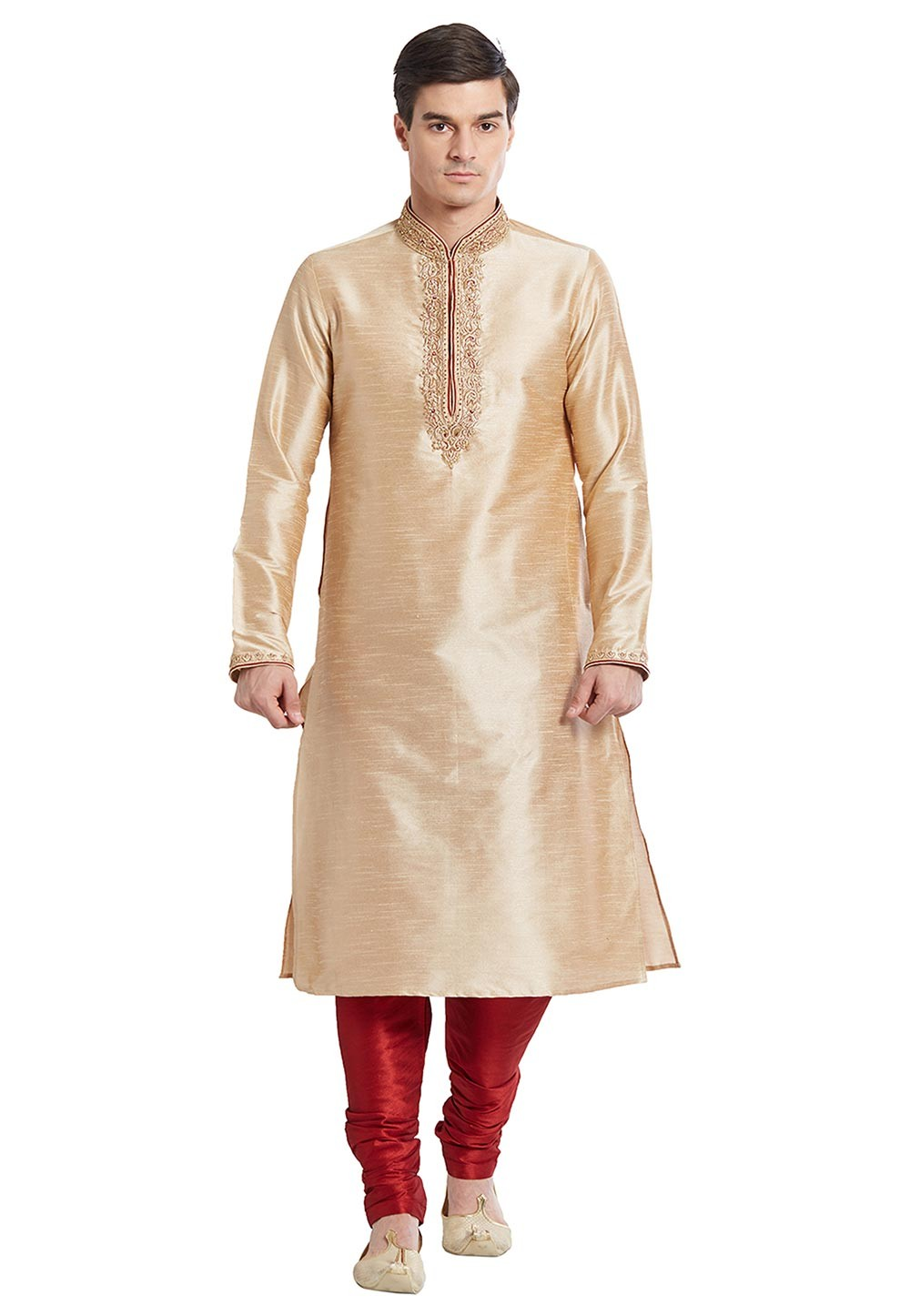 Traditional Look Beige Color Silk Readymade Kurta Pajama With Embroidery Work