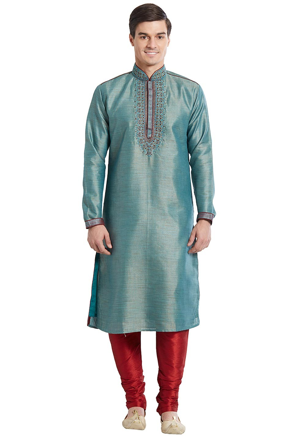 Green Color Bhagalpuri Silk Readymade Kurta Pajama With Embroidery Work.