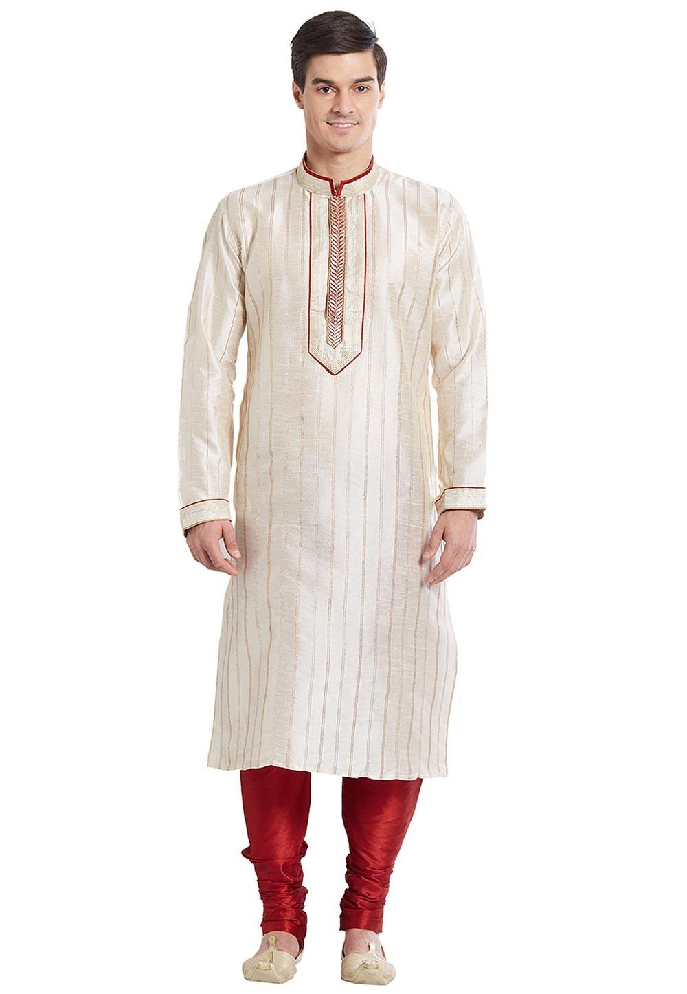 Off White Color Silk Readymade Kurta Pajama