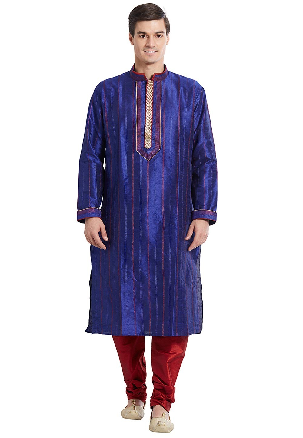 Men's Exquisite Blue Color Silk Readymade Kurta Pyjama With Thread Work