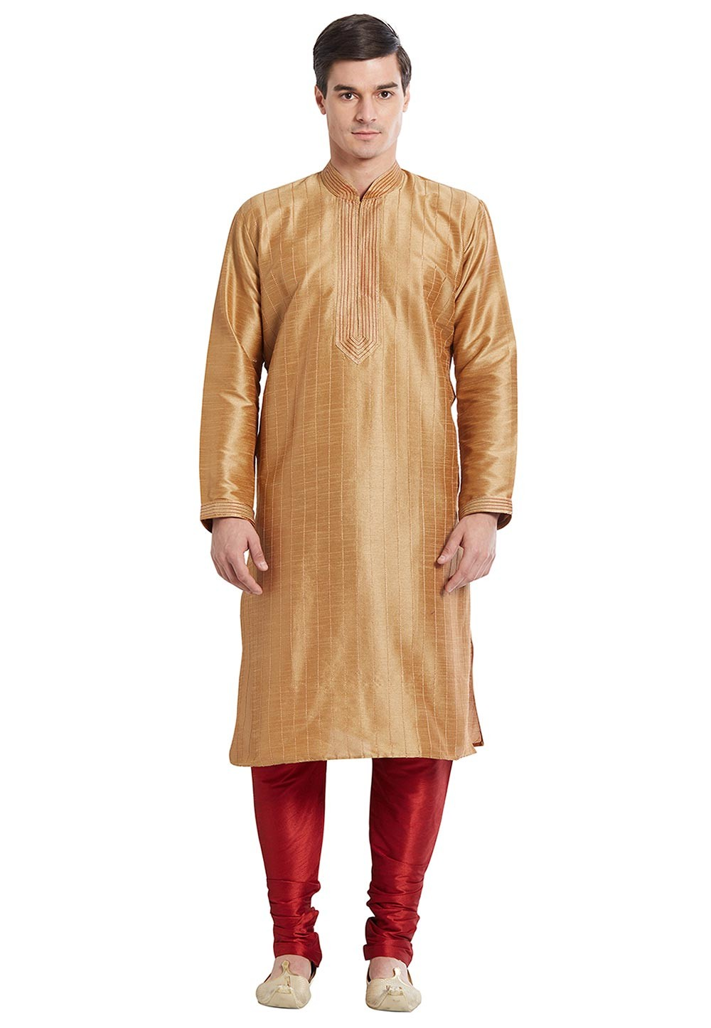 Beige Color Silk Readymade Kurta Pajama With Thread Work