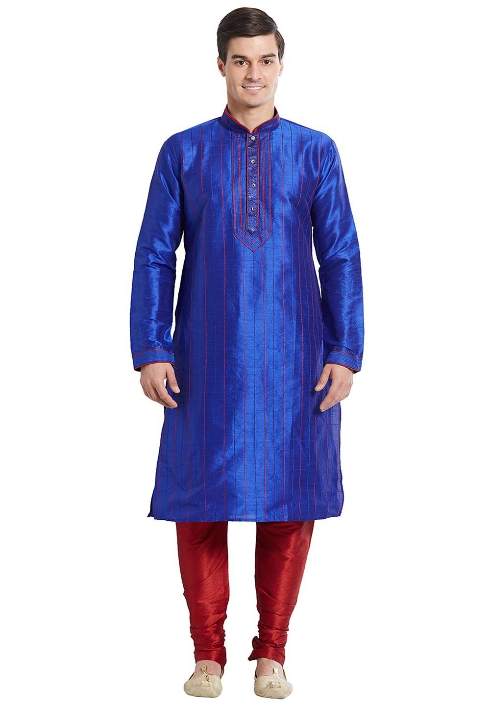 Blue Color Silk Party Wear Kurta Pajama