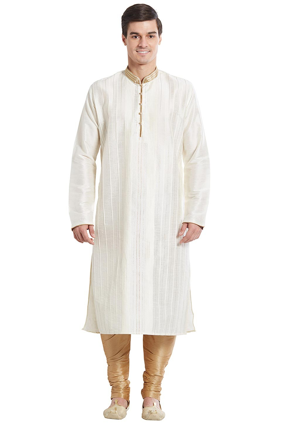 Men's Exquisite Cream Color Silk Readymade Kurta Pajama With Thread Work