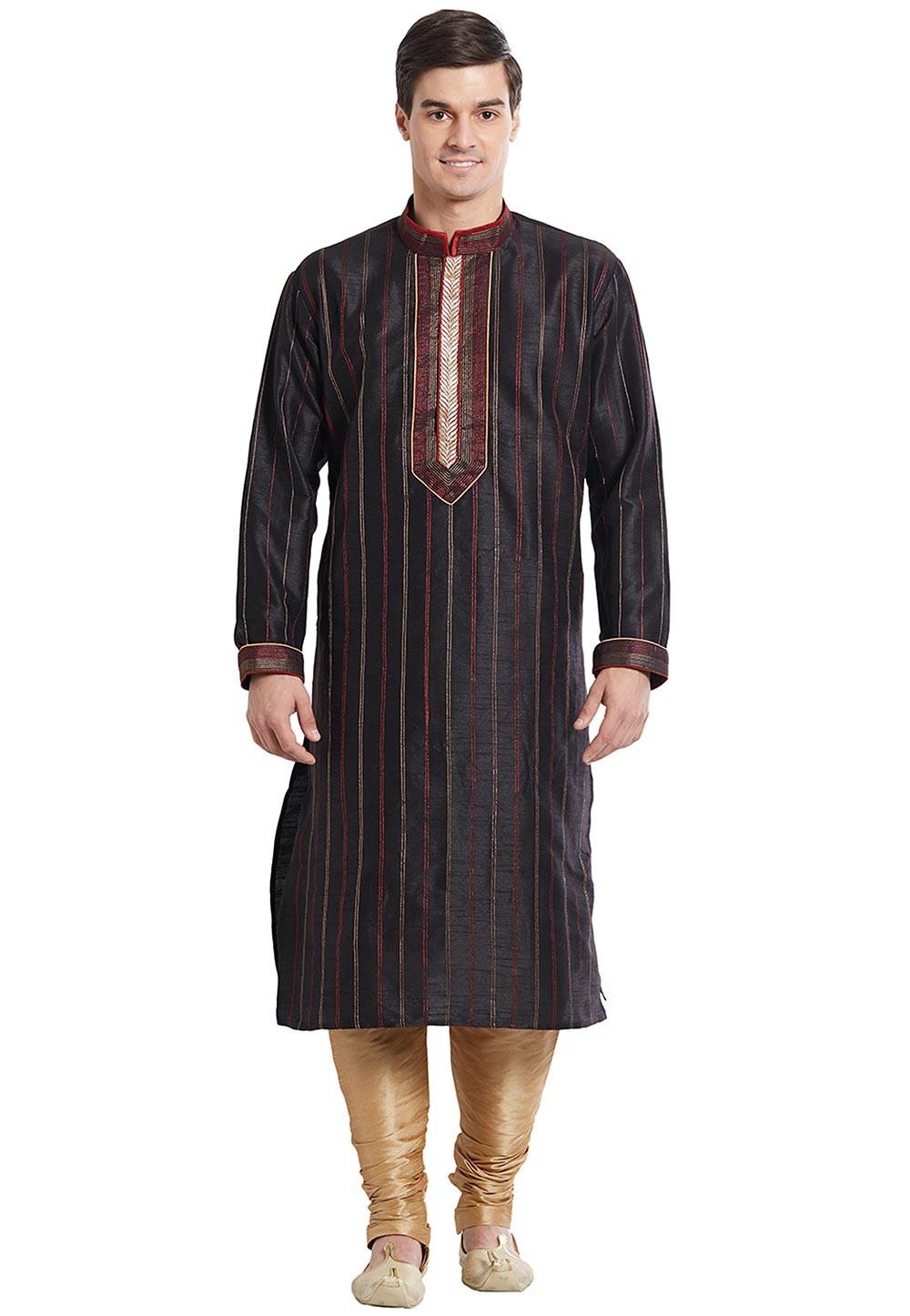 Black Color Silk Readymade Kurta Pajama With Thread Work