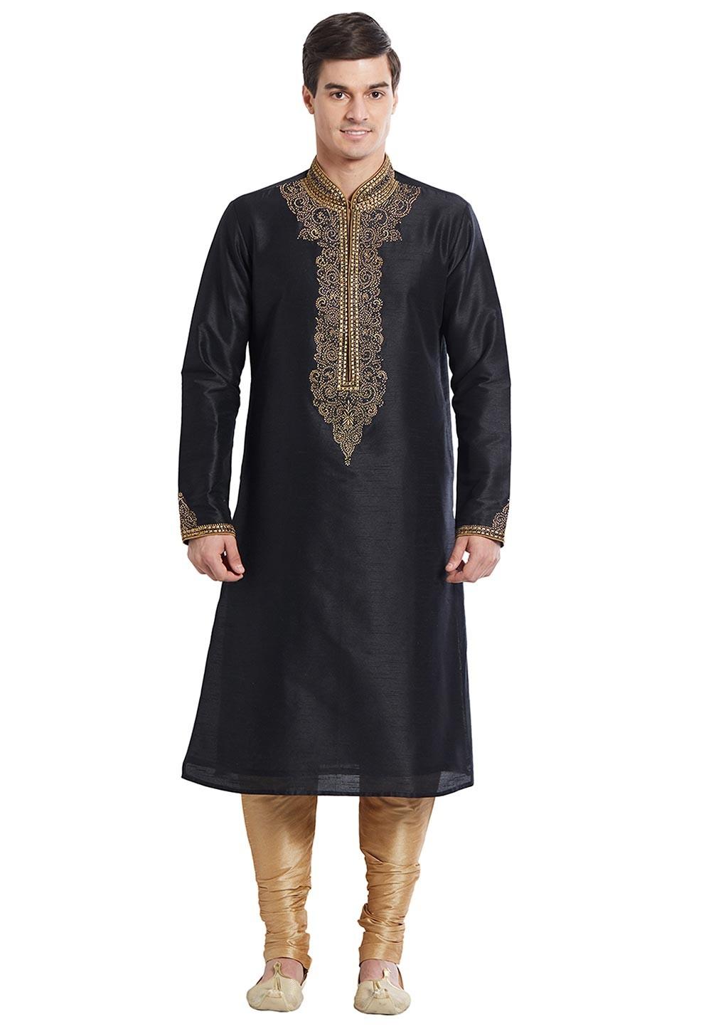 Black Color Silk Fabric Designer Kurta Pajama With Zari Work